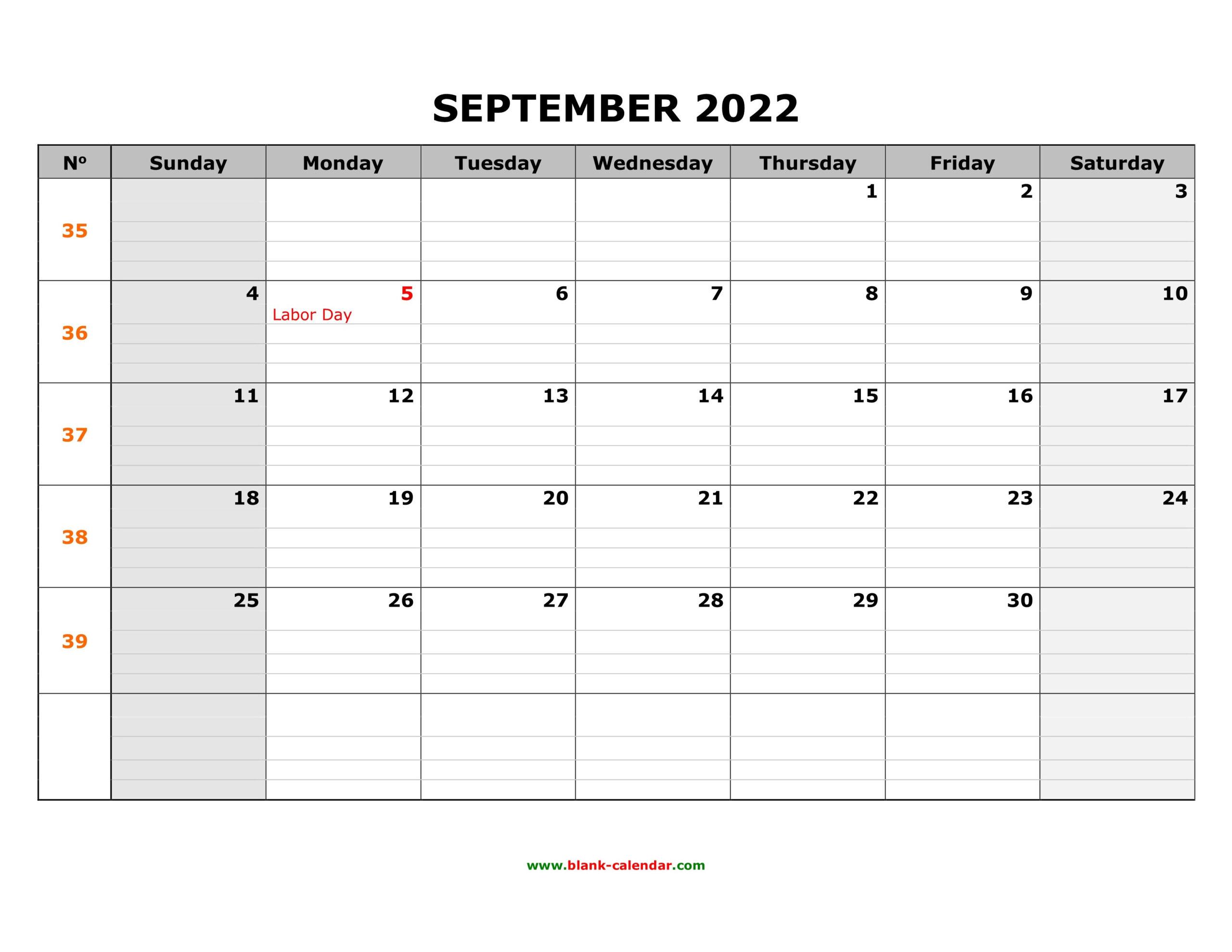 Free Download Printable September 2022 Calendar, Large Box intended for September 2022 Calendar Template