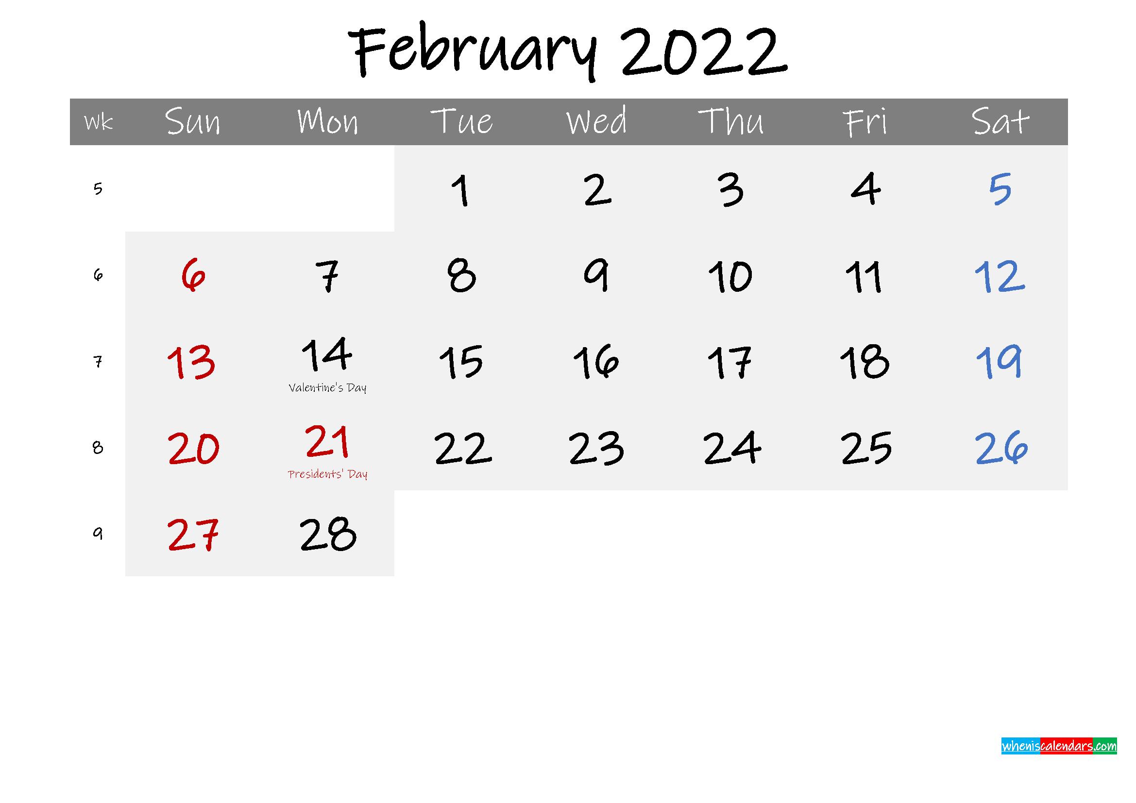 Free February 2022 Monthly Calendar Template Word regarding 2022 Weekly Planner Printable Image