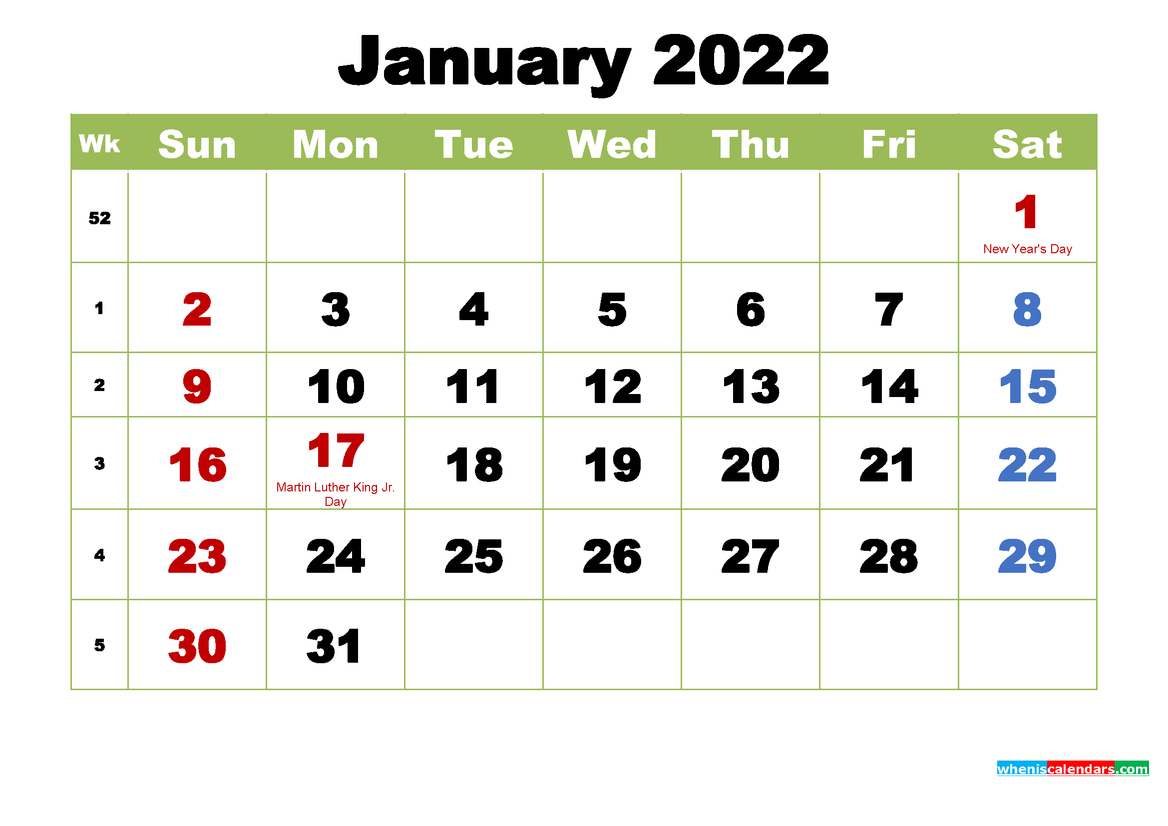 Free January 2022 Printable Calendar With Holidays   Free with January 2022 Free Month At A Glance Planner.pdf