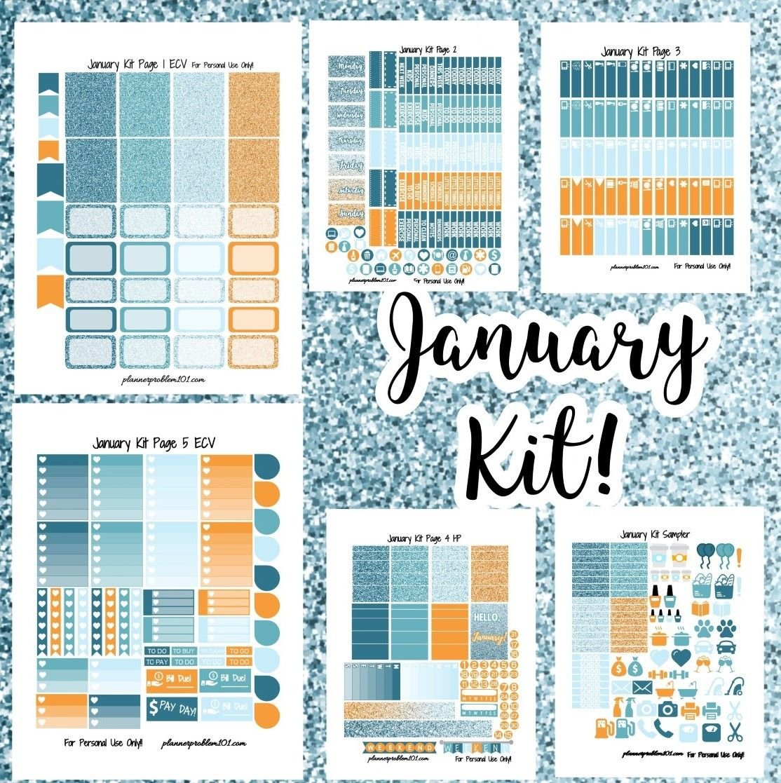 Free January Colors Weekly Kit! | Free Printable Planner intended for Free Happy Planner Stickers Printable Graphics