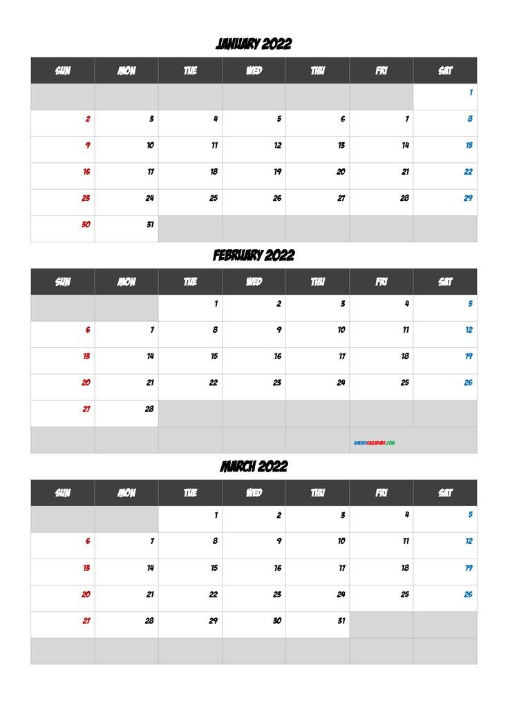 Free January February March 2022 Calendar [Q1-Q2-Q3-Q4 intended for January 2022 Calendar Half Page Print Photo