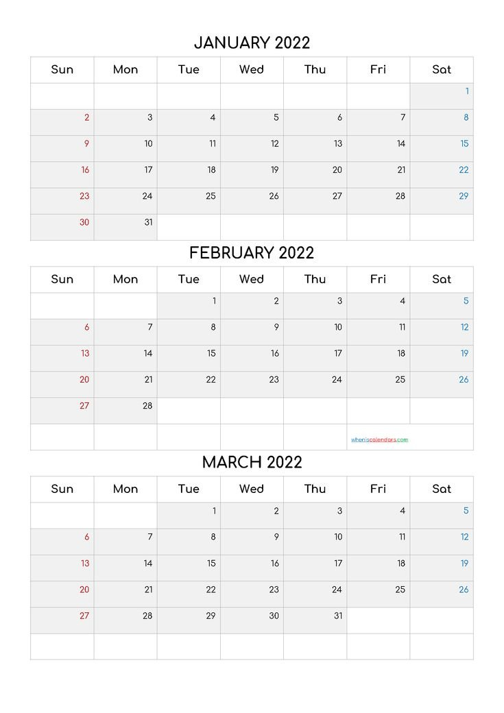 Free January February March 2022 Calendar [Q1-Q2-Q3-Q4 throughout January 2022 Calendar Half Page Print
