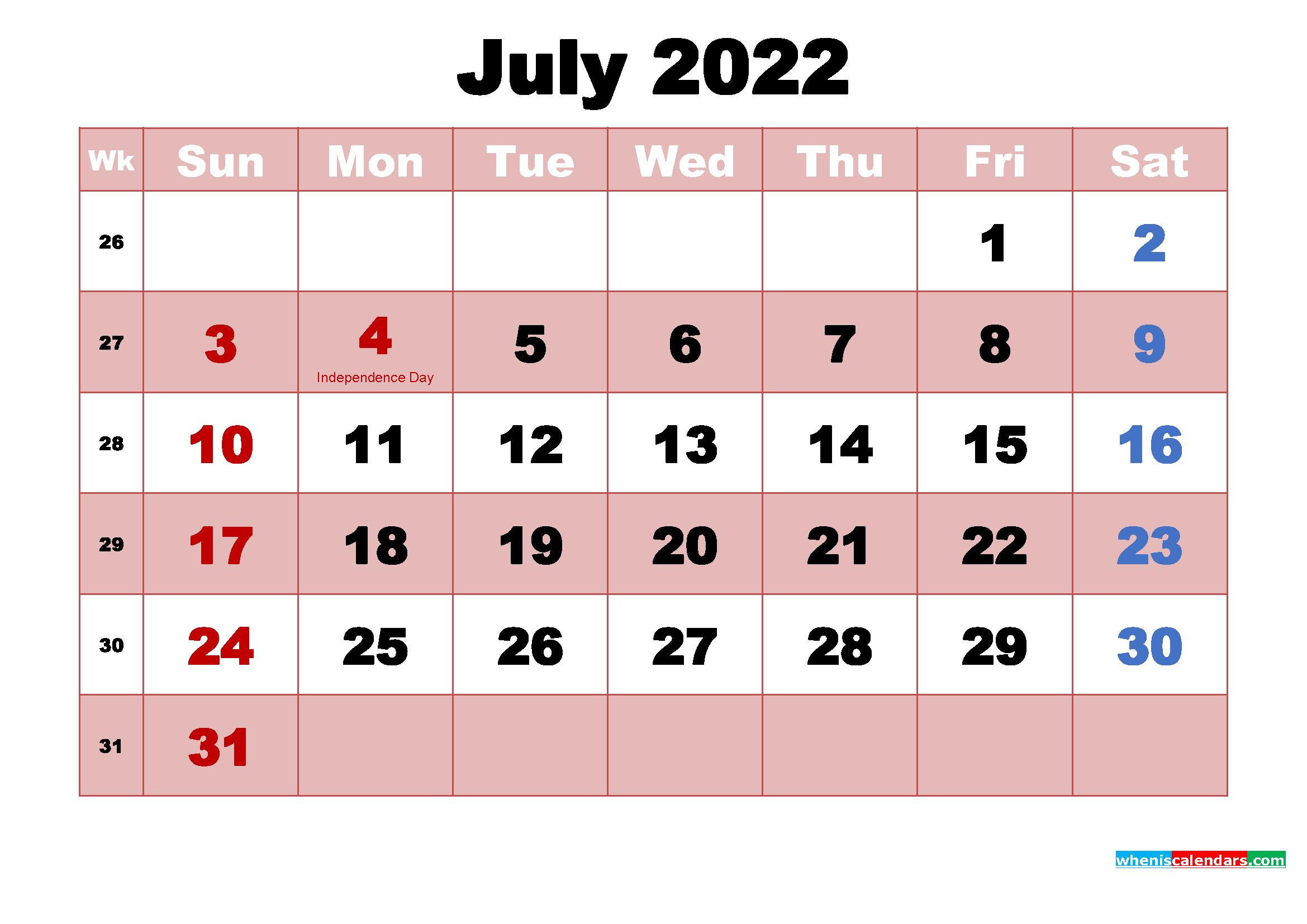 Free July 2022 Desktop Calendar High Resolution   Free inside Printable 2022 July Calendar Image