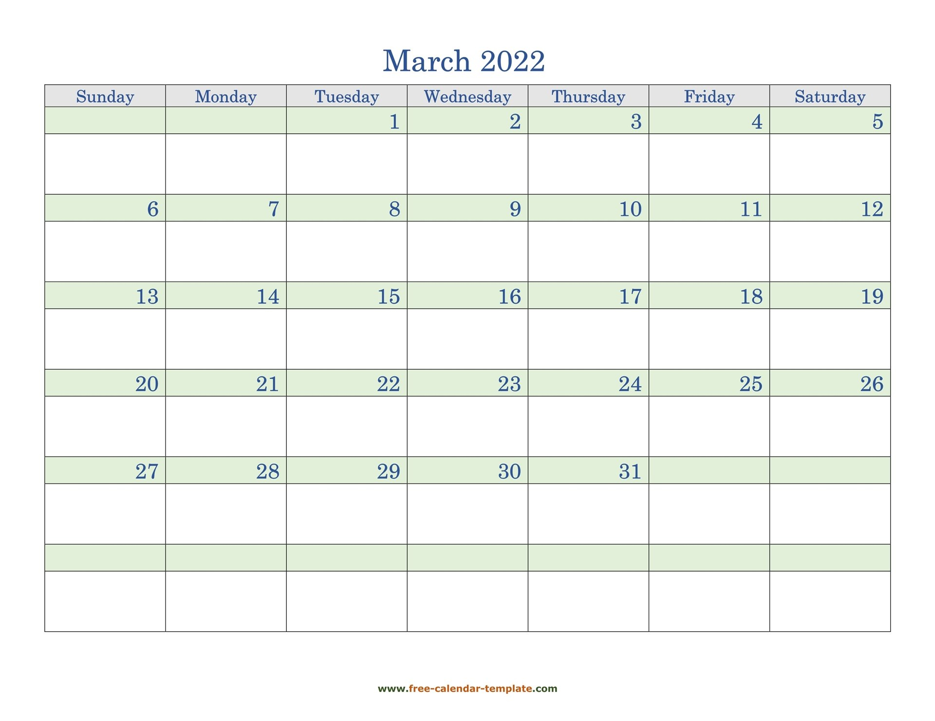 Free March 2022 Calendar, Coloring On Each Day (Horizontal with March 2022 Calendar Printable Photo