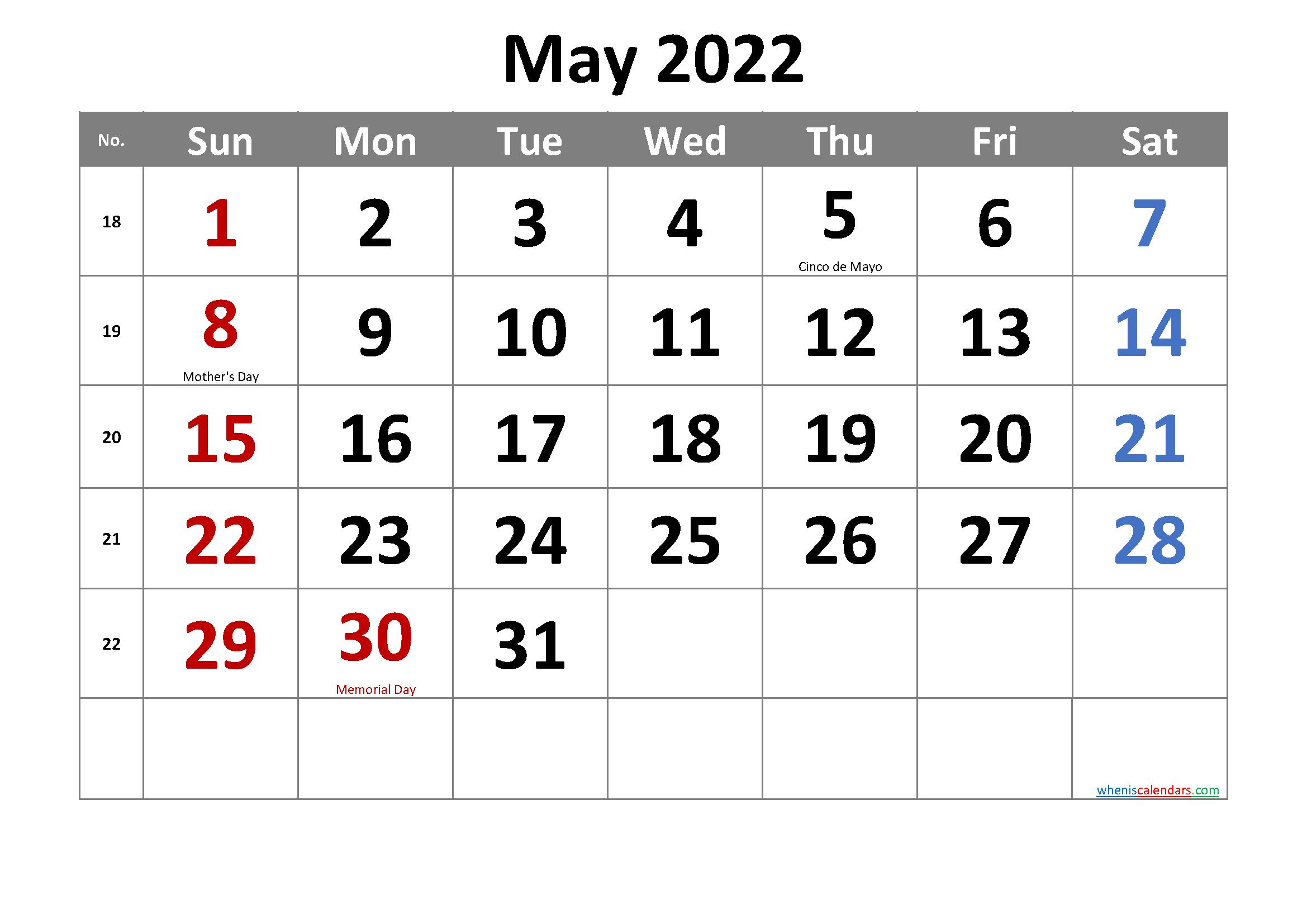 Free May 2022 Calendar Printable in Printable Calendar May 2022