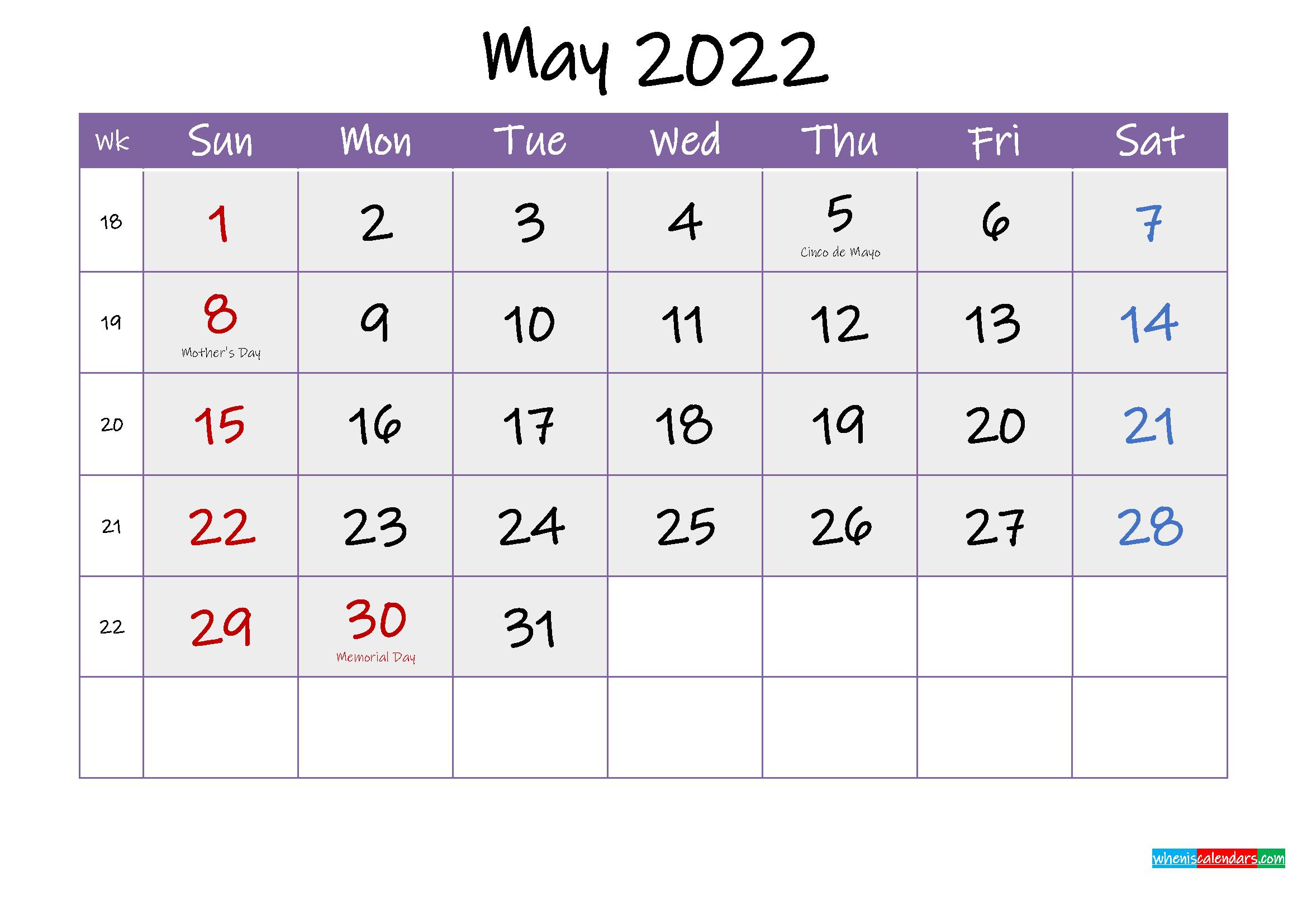 Free May 2022 Printable Calendar With Holidays - Template with May 2022 Calendar Printable