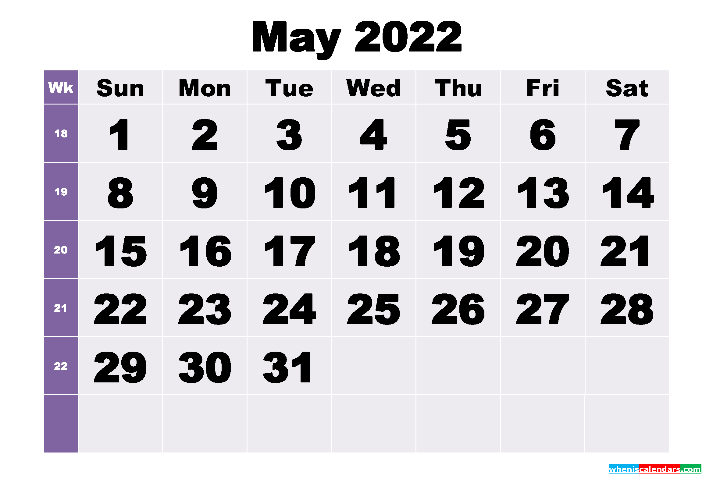 Free May 2022 Printable Monthly Calendar Template with Free Monthly Planner 2022 Graphics