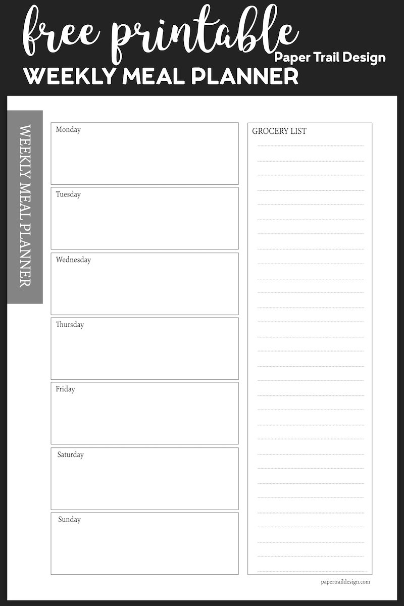 Free Meal Planner Printable Template | Paper Trail Design pertaining to Weekly Planner Printable Free