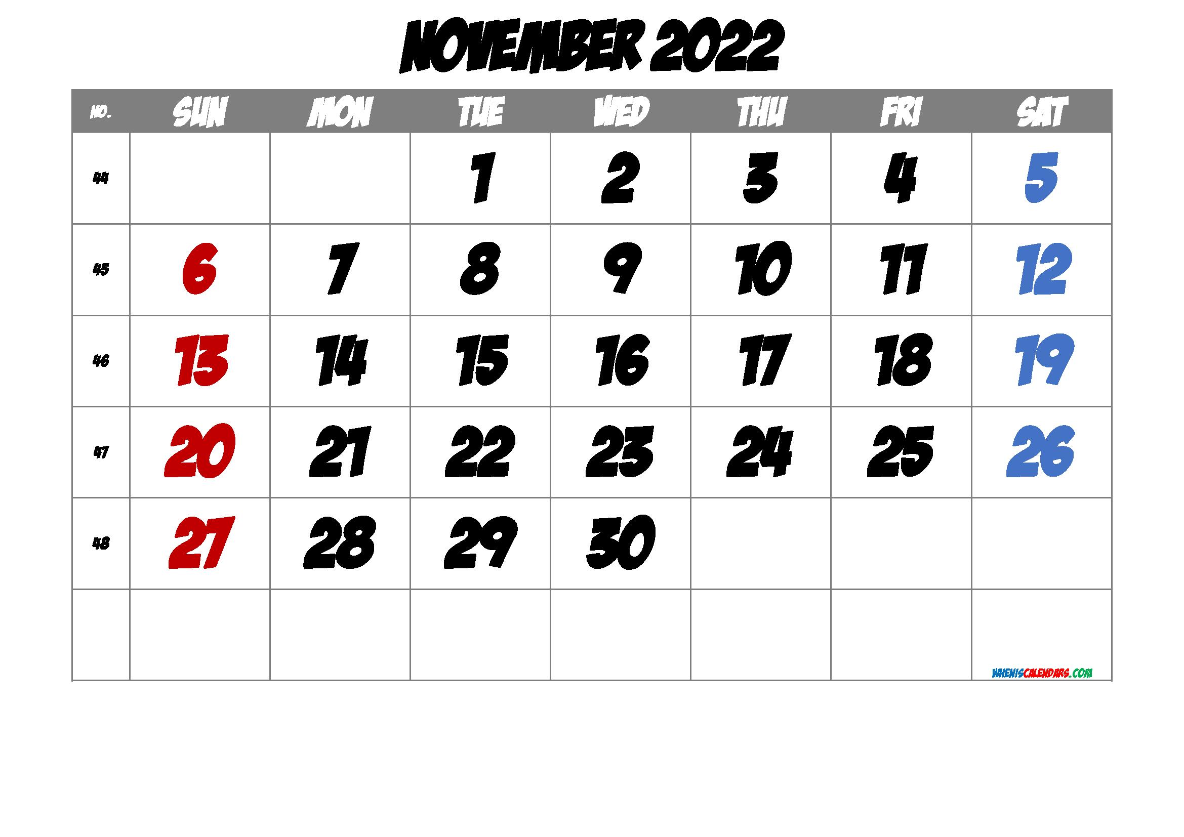 Free November 2022 Calendar [Free Premium] throughout November 2022 Calendar Planner Printable Photo