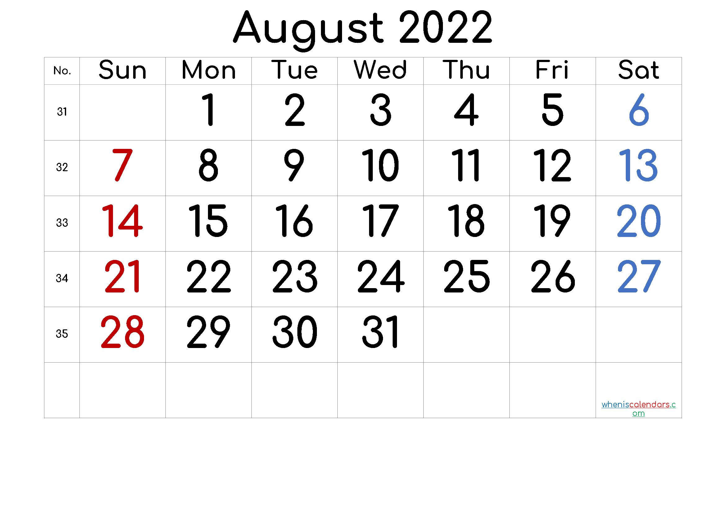 Free Printable 2022 August Calendar inside Free Printable Calendar August 2022