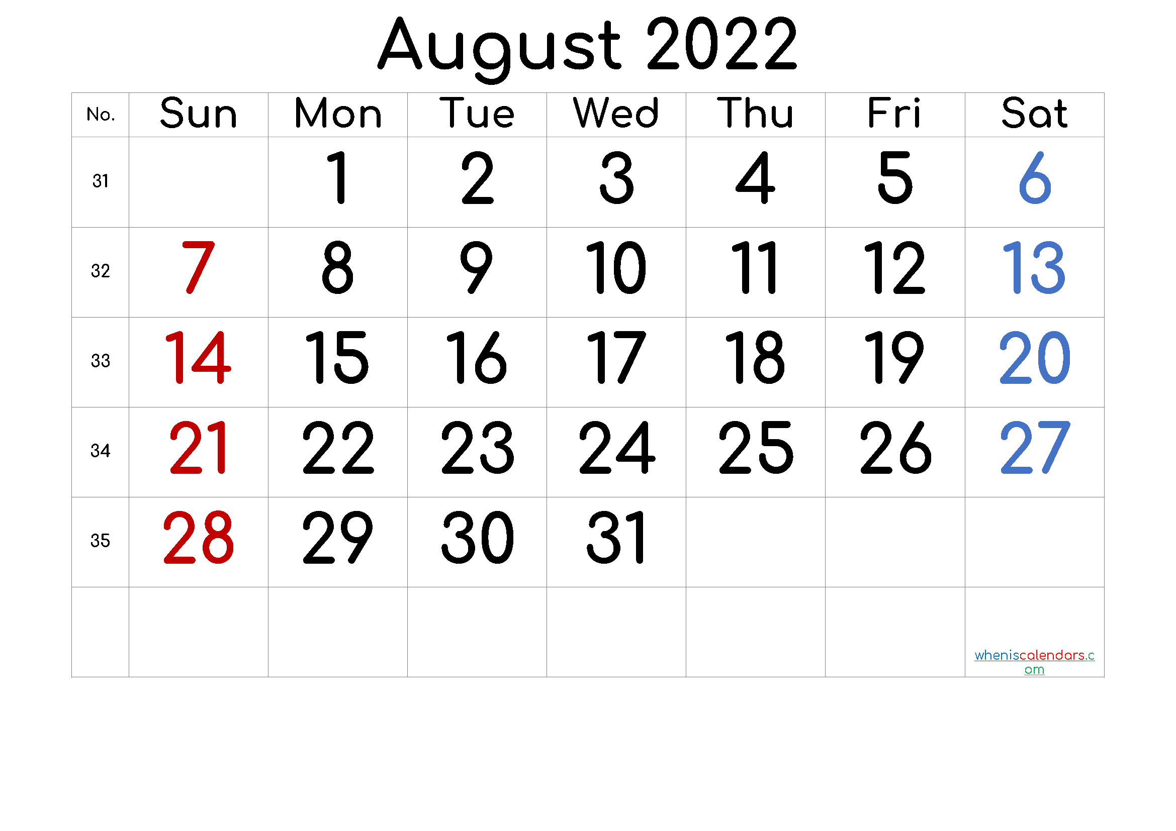 Free Printable 2022 August Calendar intended for Printable 2022 August Calendar Photo