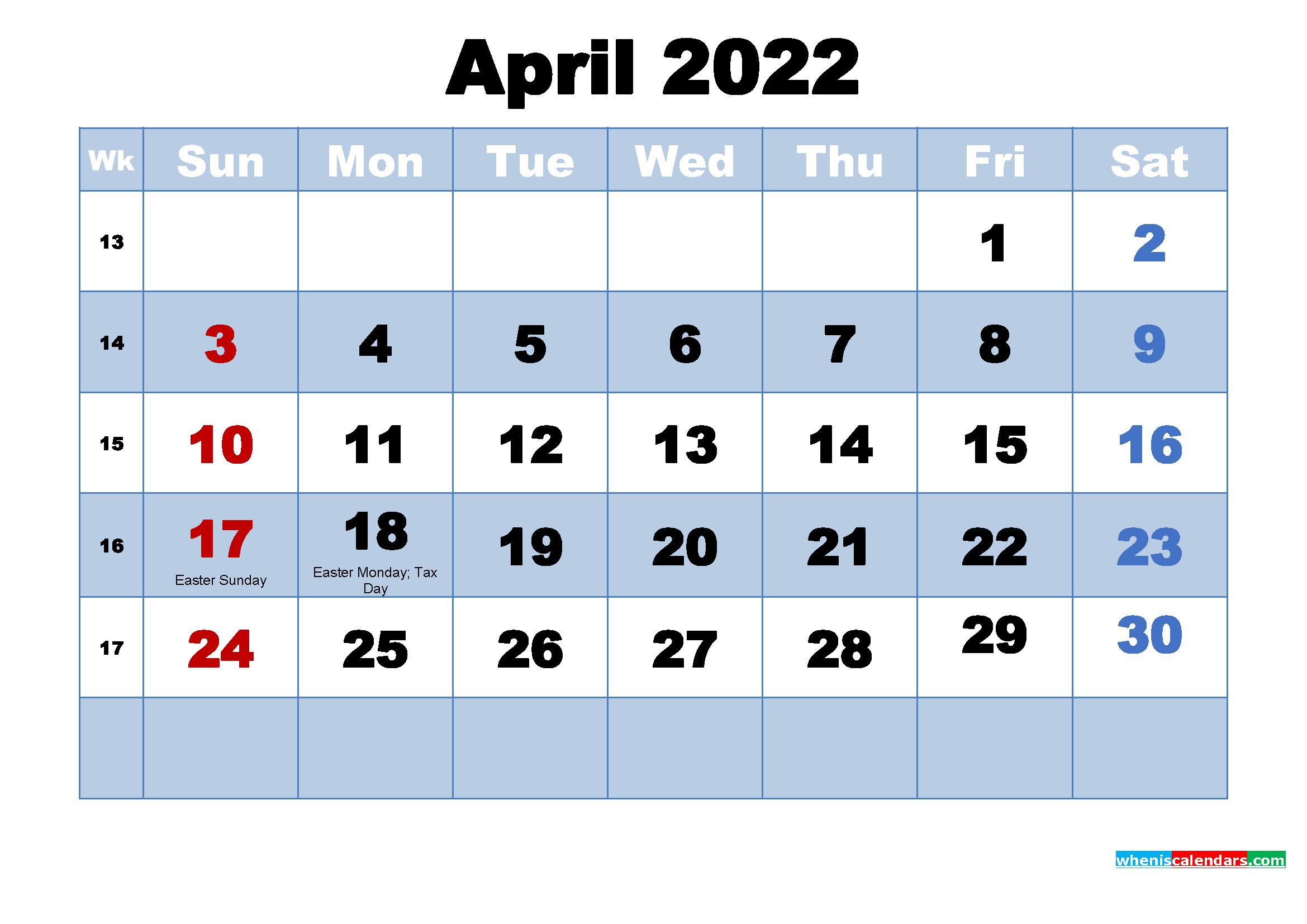Free Printable 2022 Calendar April As Word, Pdf intended for April 2022 Calendar Printable Photo