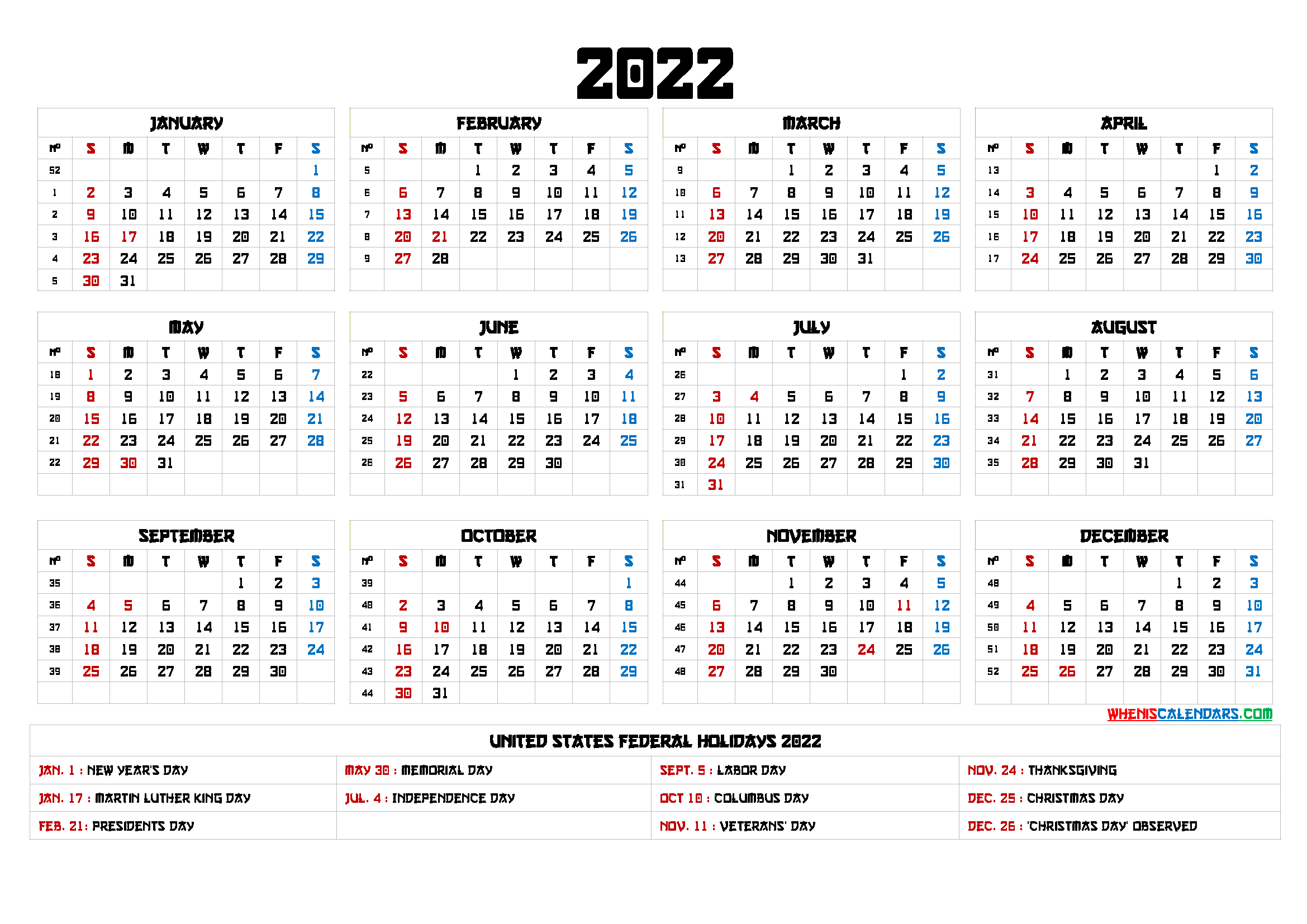 Free Printable 2022 Calendar Templates - 6 Templates intended for January 2022 Free Month At A Glance Planner.pdf Photo