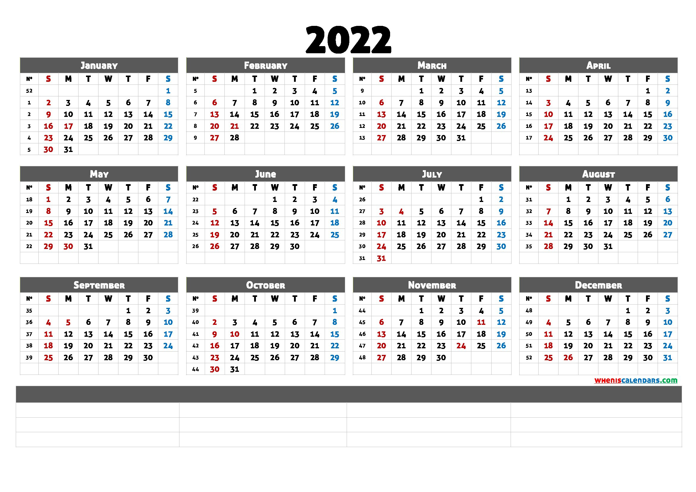 Free Printable 2022 Calendar Templates - Calendraex with Yearly Planner 2022 Printable Free Photo