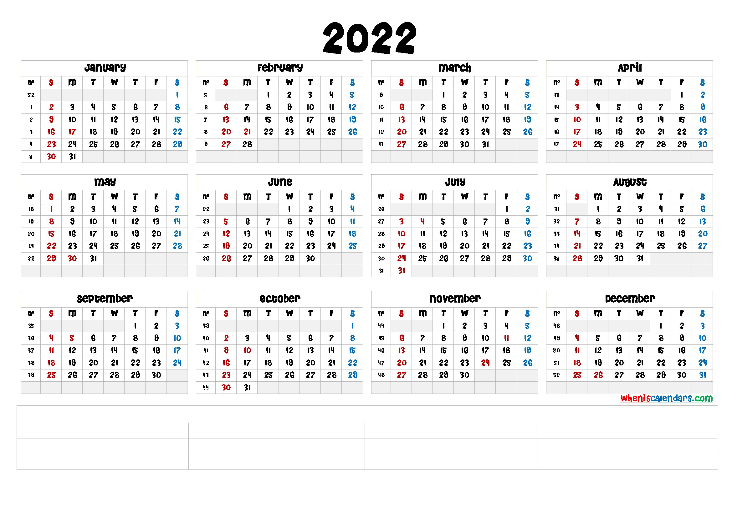 Free Printable 2022 Calendarmonth (6 Templates) - Free with 2022 2022 Monthly Planner Free Printable
