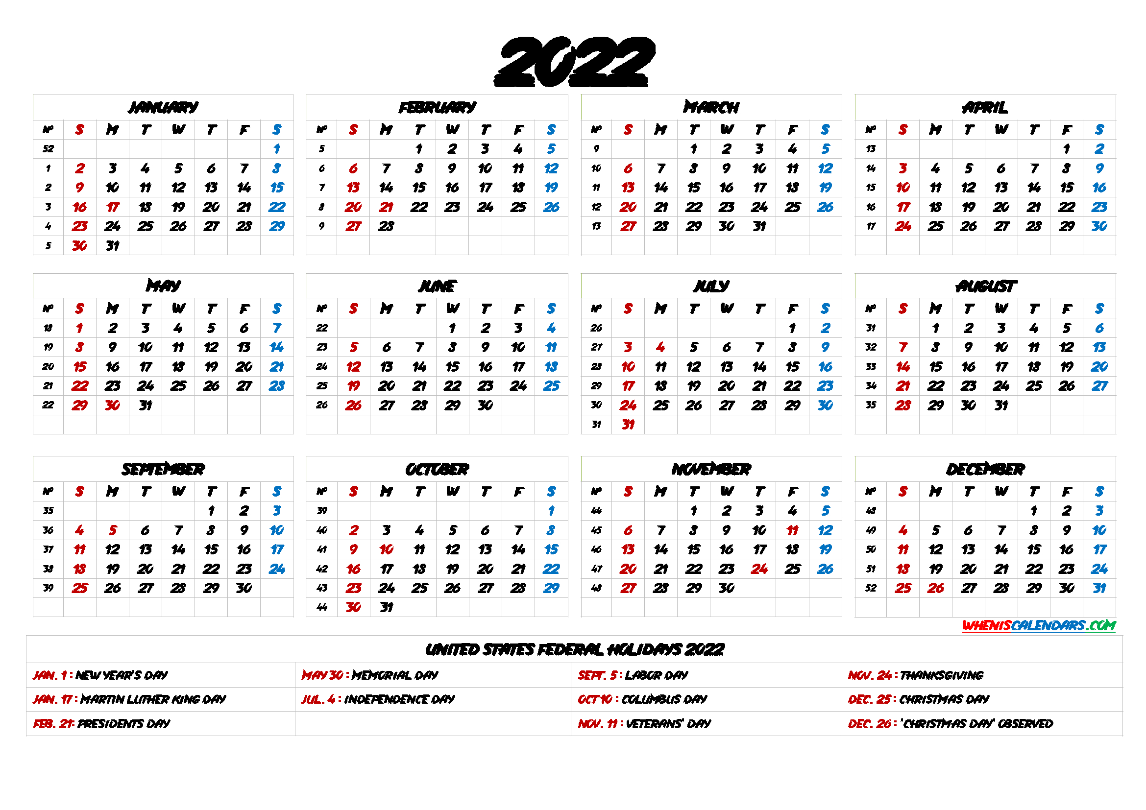 Free Printable 2022 Yearly Calendar With Holidays - 9 inside Free Monthly Planner 2022