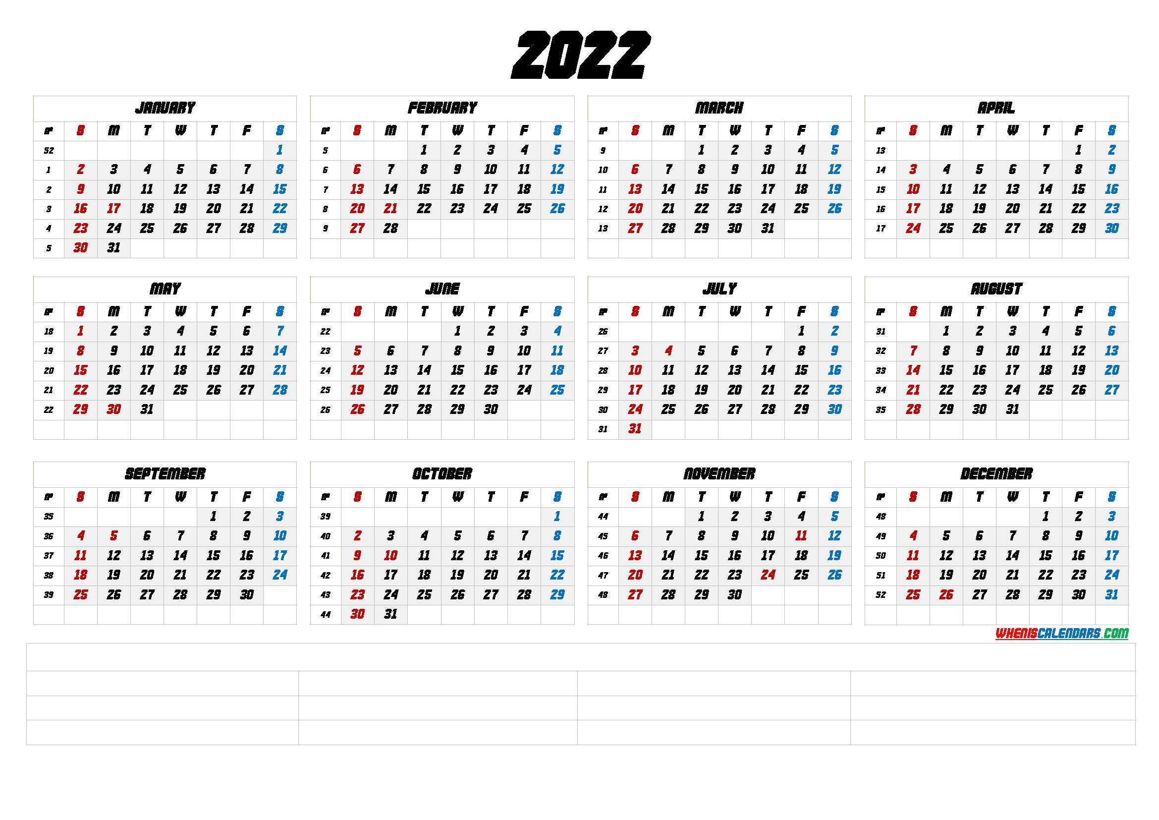Free Printable 2022 Yearly Calendar With Week Numbers (6 inside Yearly Planner 2022 Printable Free Photo