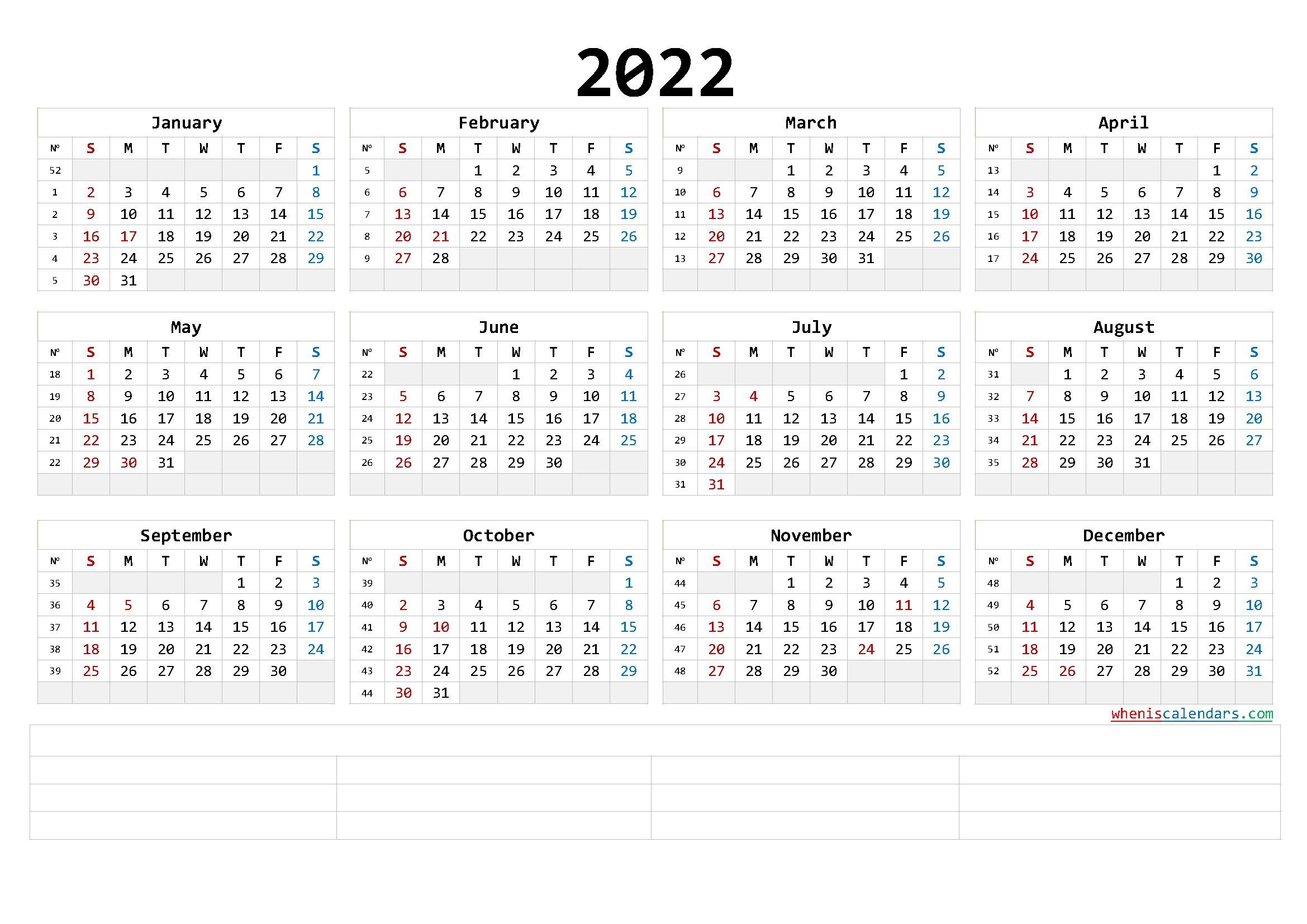 Free Printable 2022 Yearly Calendar With Week Numbers (6 within Free Printable 2022 Planner