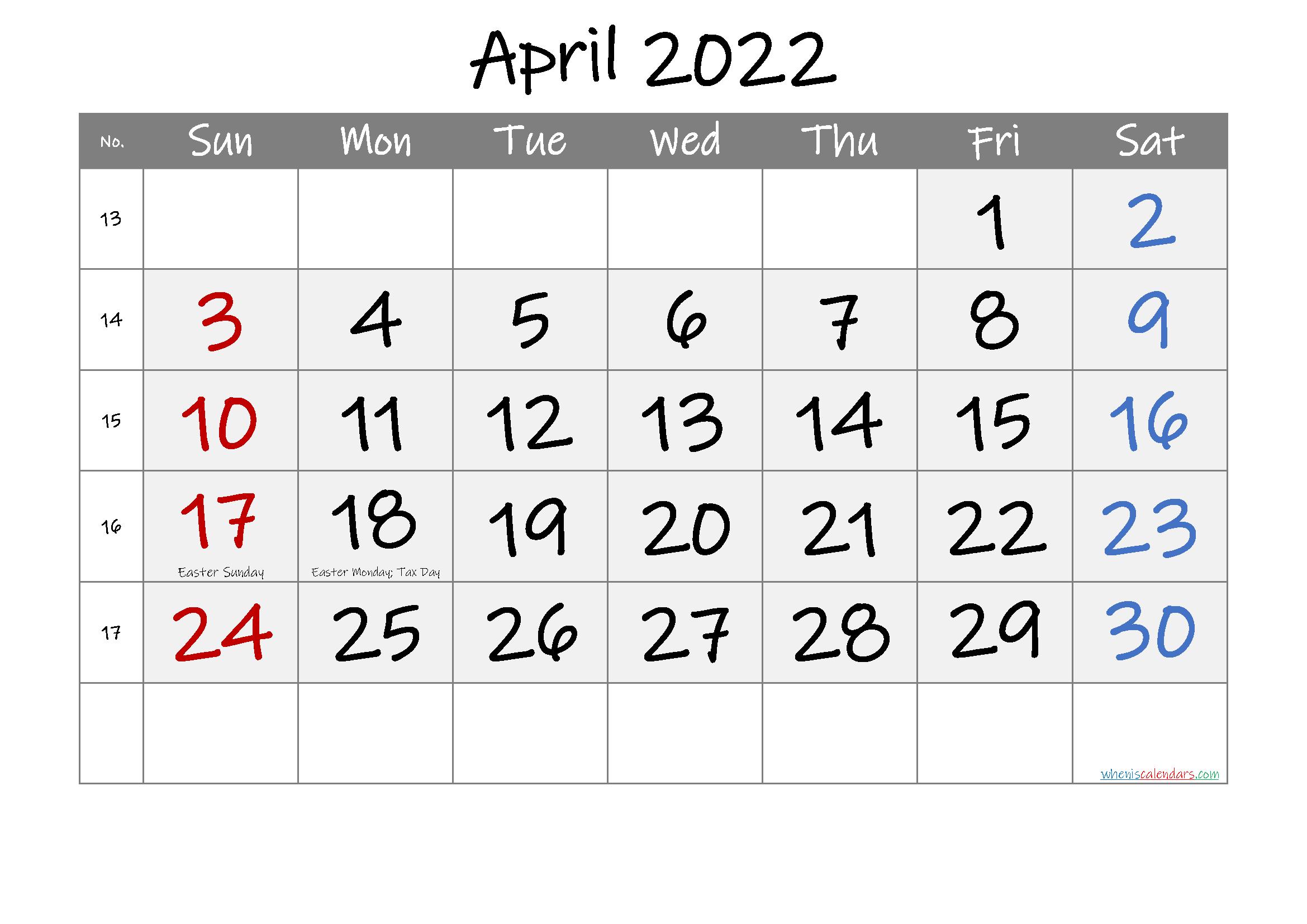 Free Printable April 2021 Calendar With Holidays within Printable Calendar April 2022 Free Photo