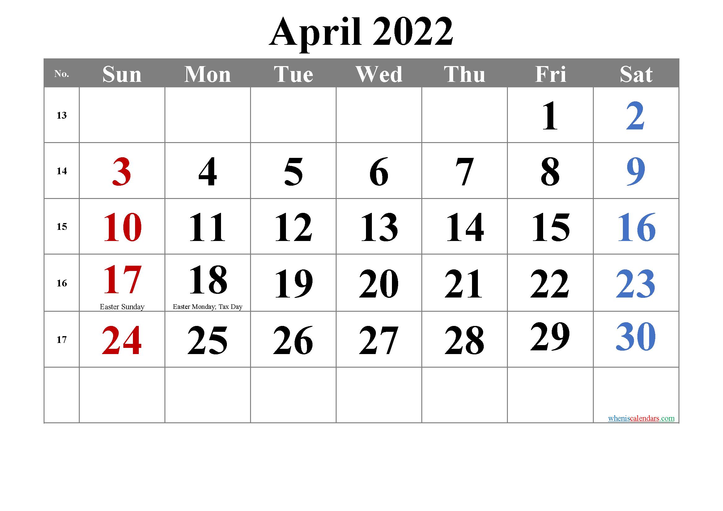 Free Printable April 2022 Calendar - Free Printable 2021 with regard to Printable April 2022 Calendar