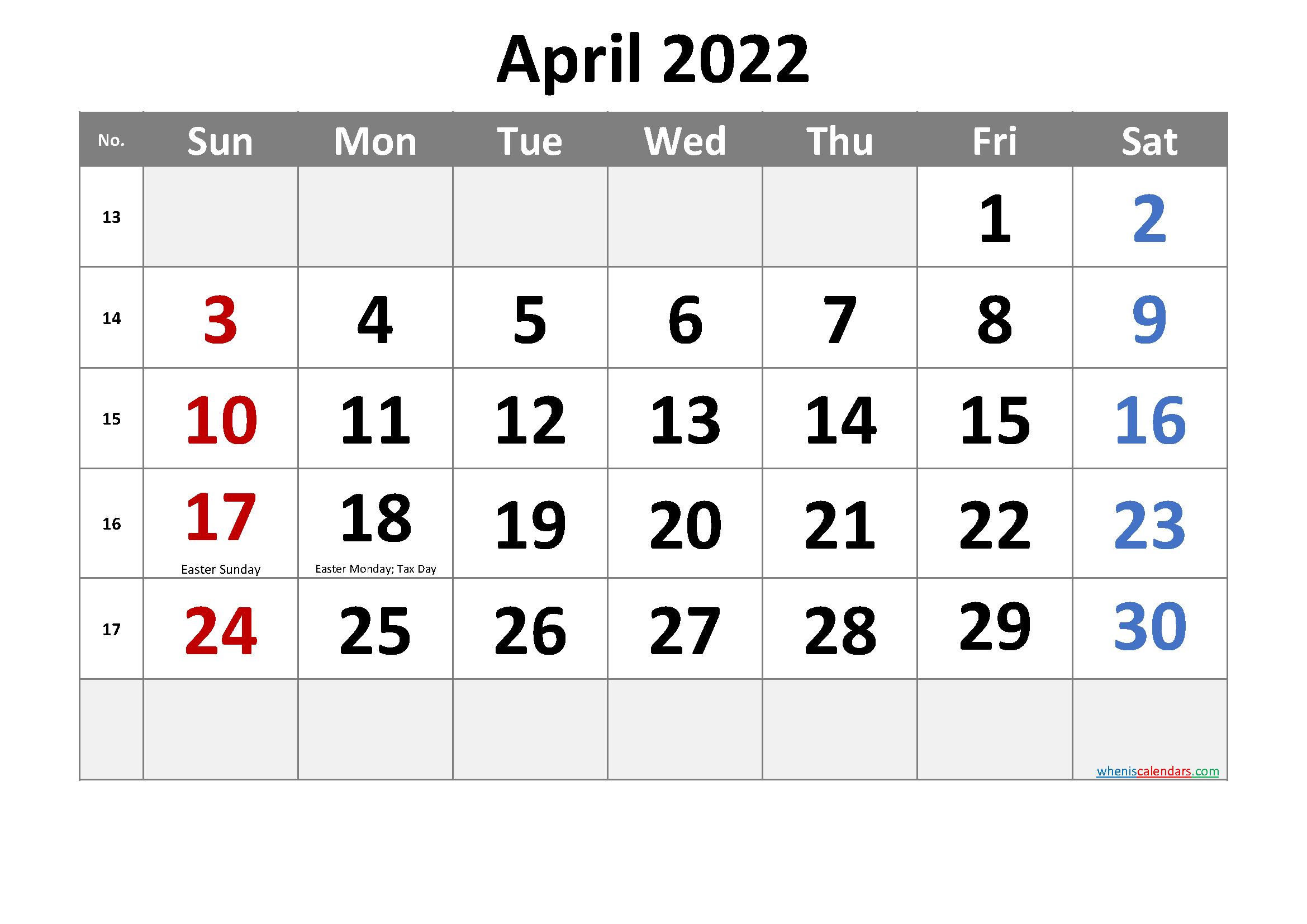 Free Printable April 2022 Calendar With Holidays throughout April 2022 Calendar Printable Images Photo