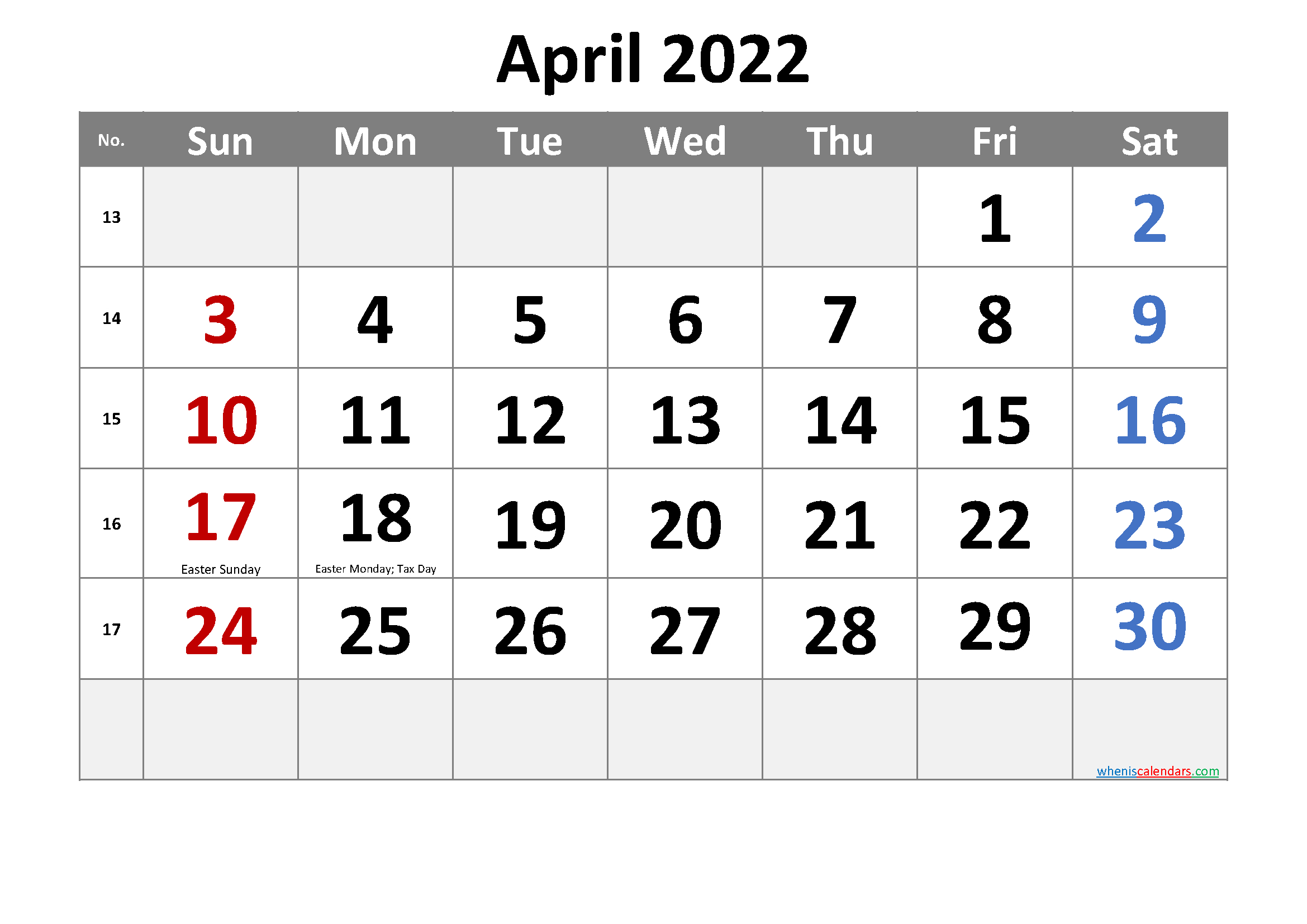 Free Printable April 2022 Calendar With Holidays within Printable Monthly Calendar April 2022 Graphics