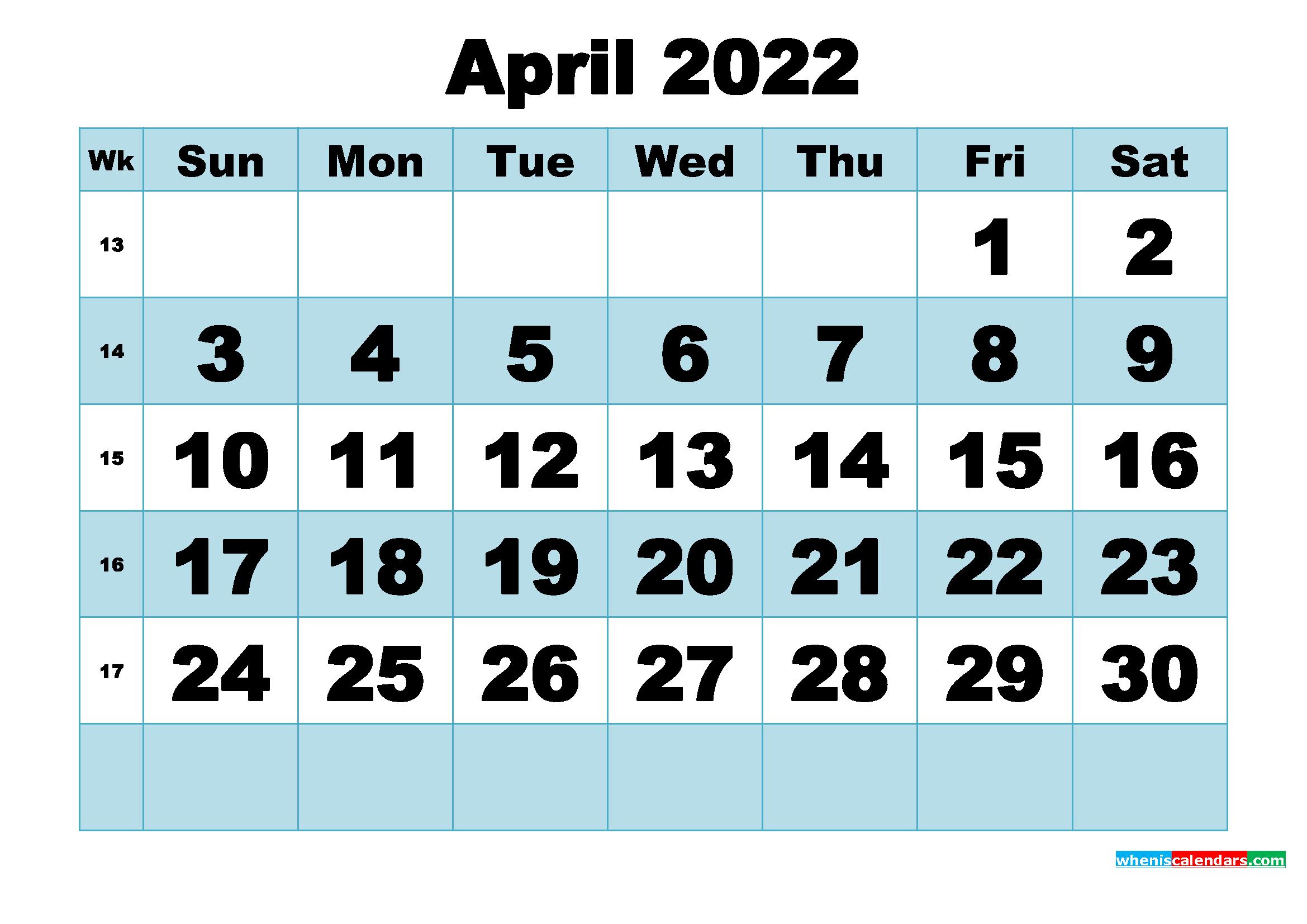 Free Printable April 2022 Calendar Word, Pdf, Image intended for April Calendar 2022 Free Printable Graphics