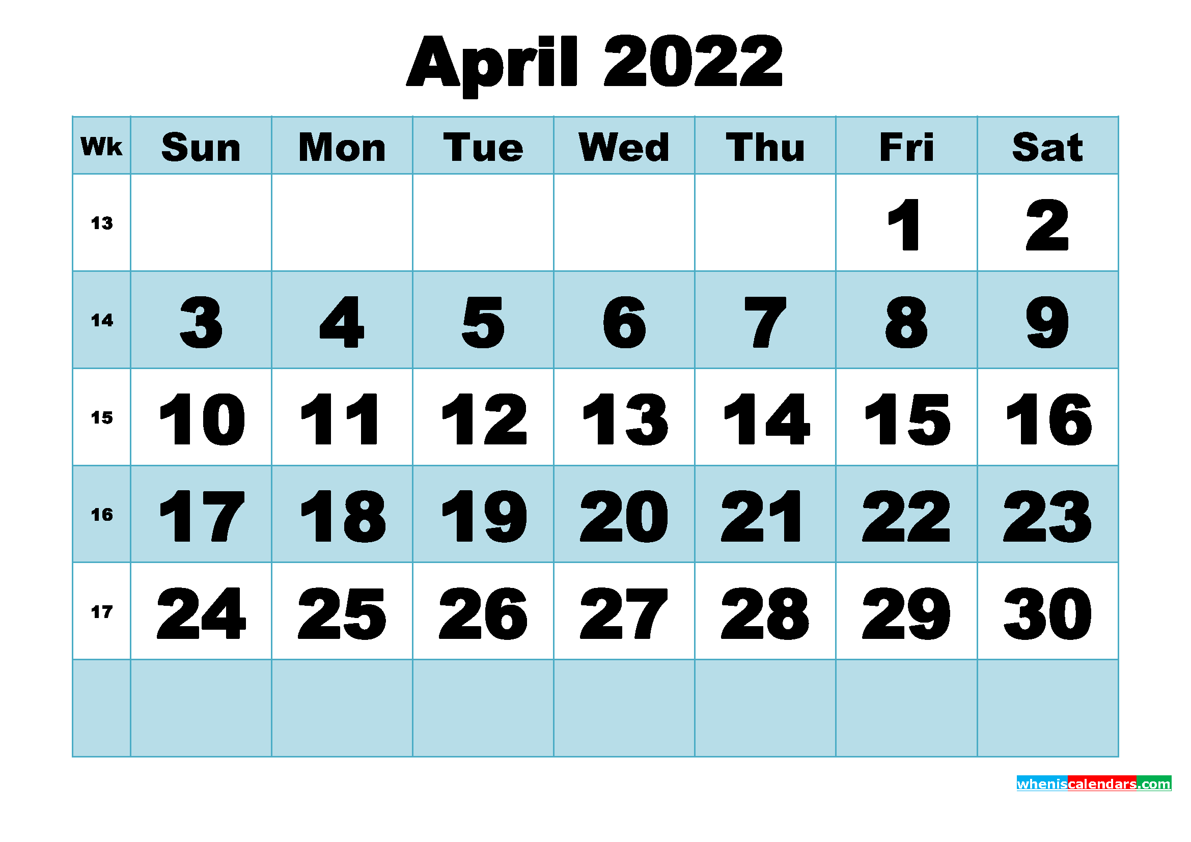 Free Printable April 2022 Calendar Word, Pdf, Image regarding April Monthly Calendar 2022 Free Printable Photo