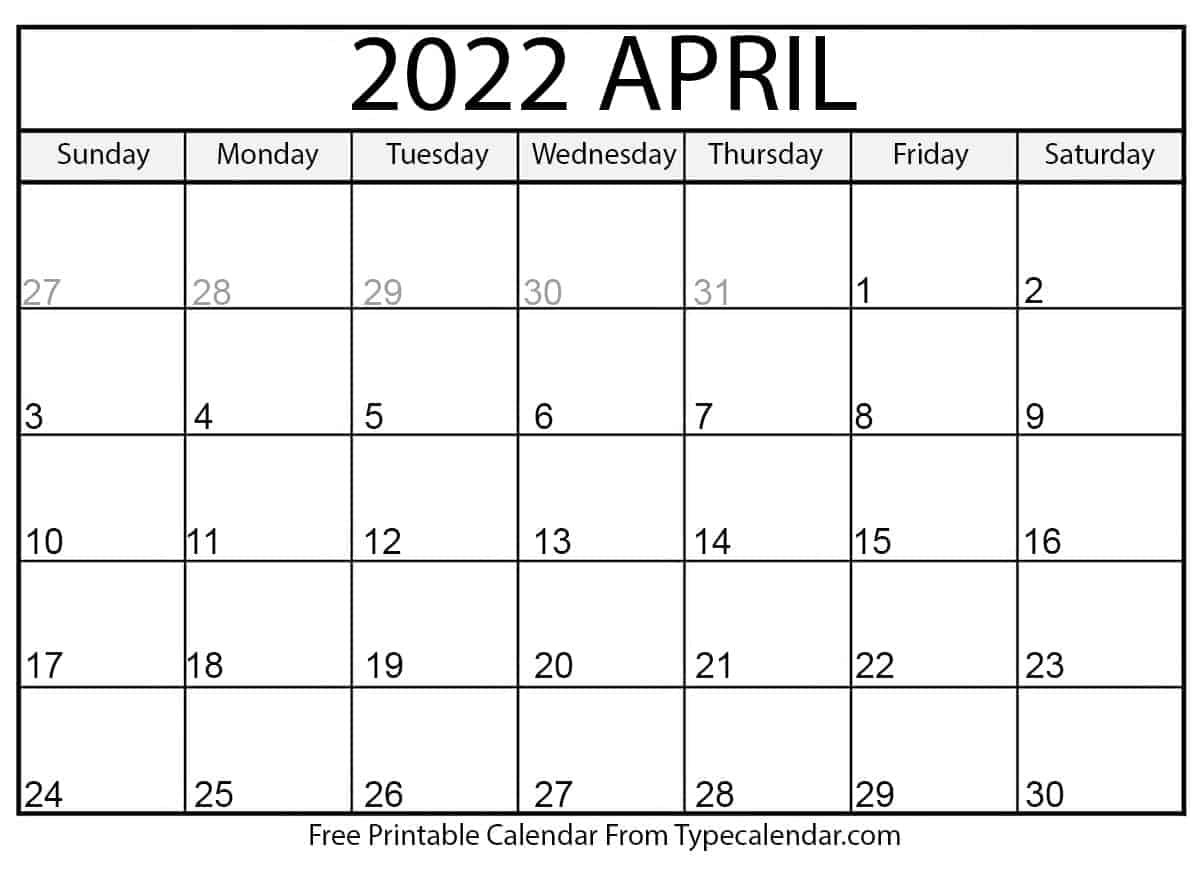 Free Printable April 2022 Calendars inside April Calendar 2022 Free Printable