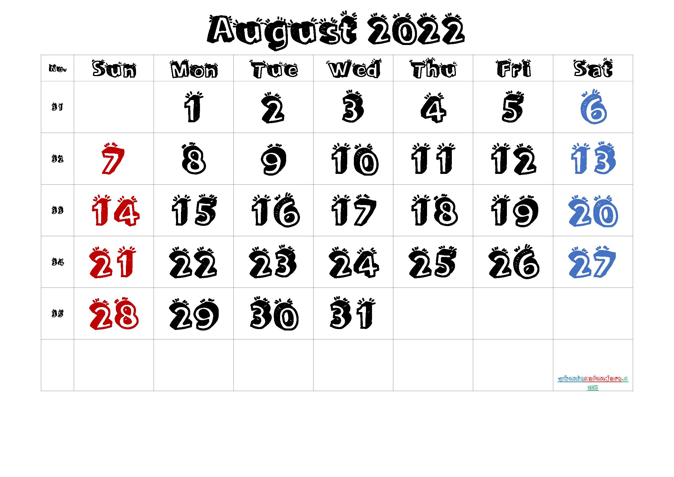 Free Printable August 2022 Calendar (Premium) for Printable 2022 August Calendar
