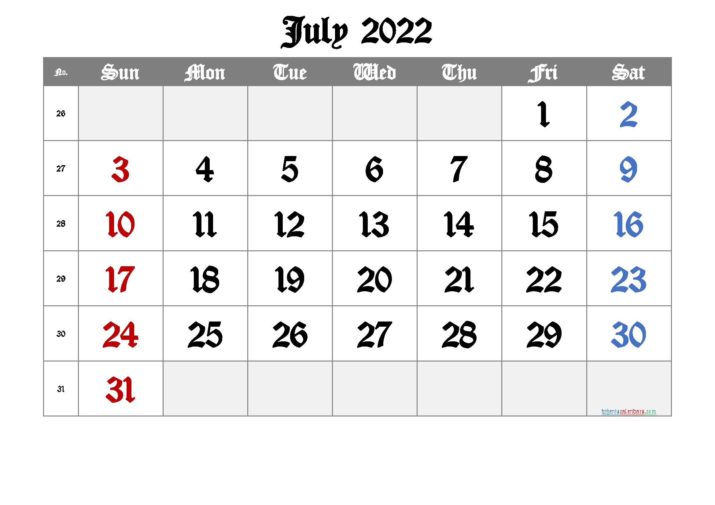 Free Printable Calendar 2022 July [Free Premium] pertaining to Printable 2022 July Calendar Image