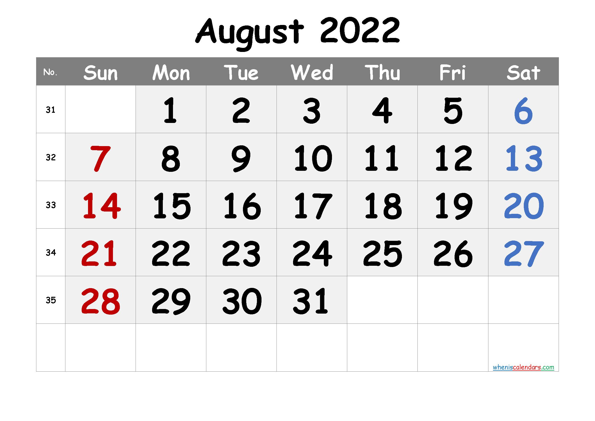 Free Printable Calendar August 2021 2022 And 2023 regarding Printable Monthly Calendar August 2022