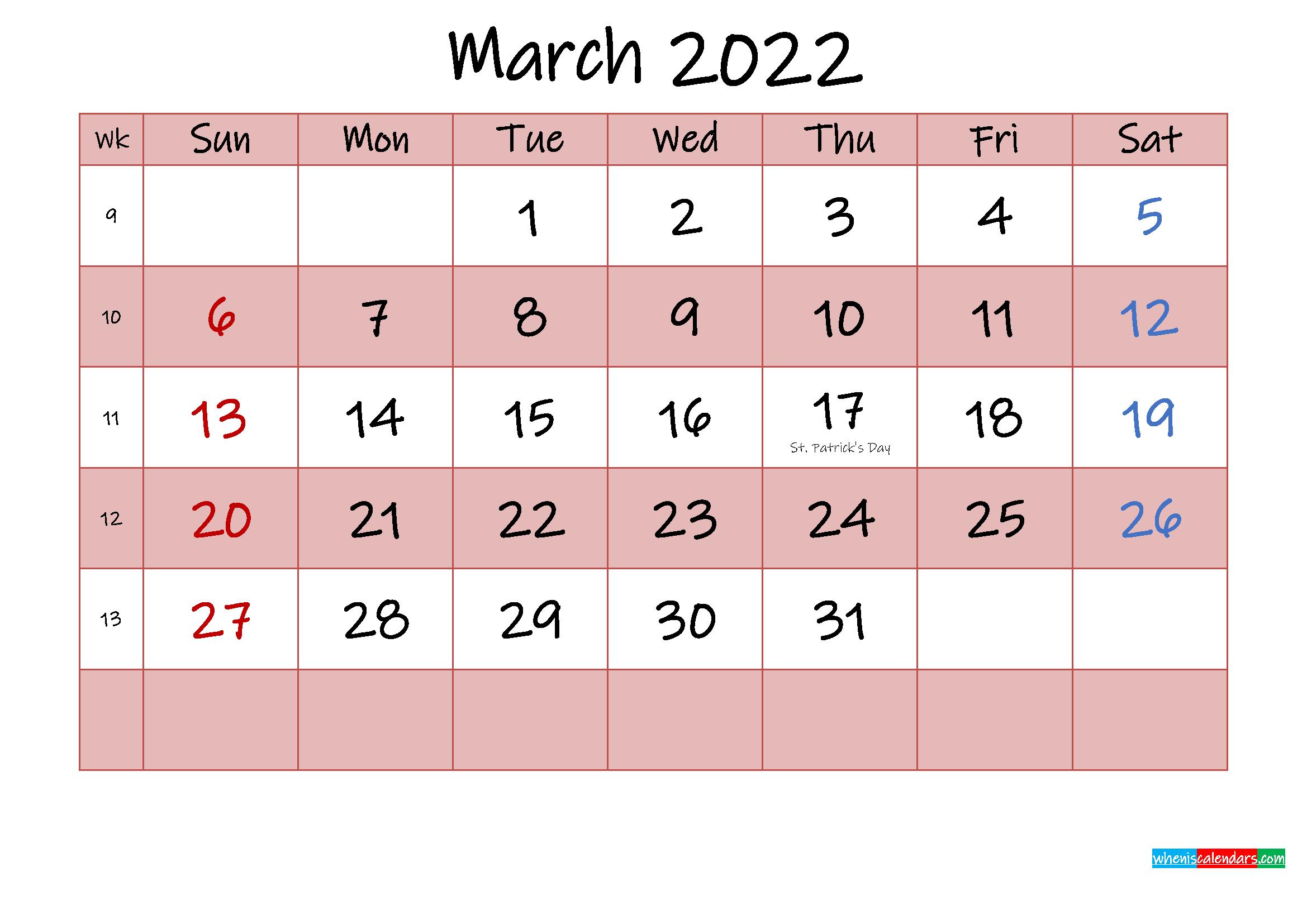 Free Printable Coloring Calendar 2022 March - Template No throughout 2022 March 2 Page Printable Calendar