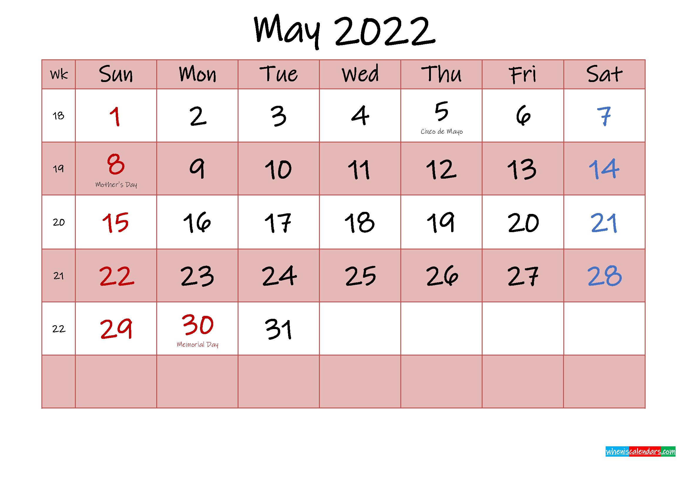 Free Printable Coloring Calendar 2022 May - Template No in May 2022 Calendar Template Image