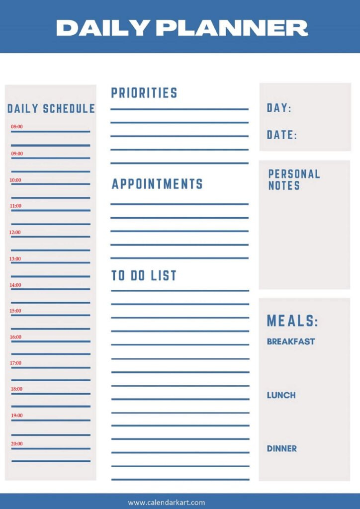 Free Printable Daily Planner 2021 Templates » Calendarkart for How To Make A Printable Planner Photo