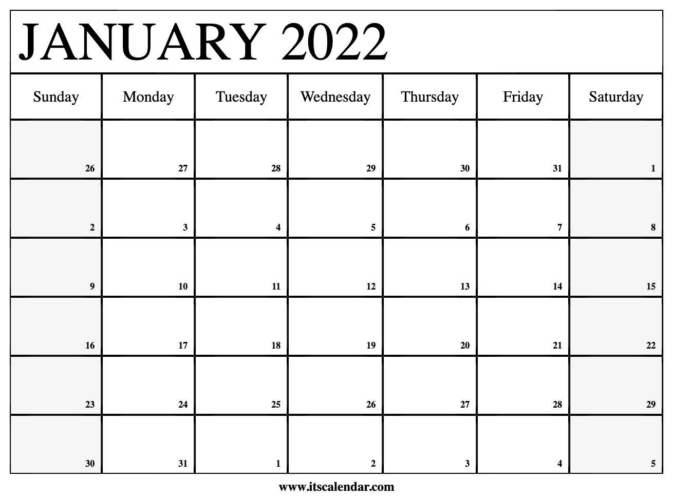 Free Printable January 2022 Calendar pertaining to Planner 2022 Printable Goal