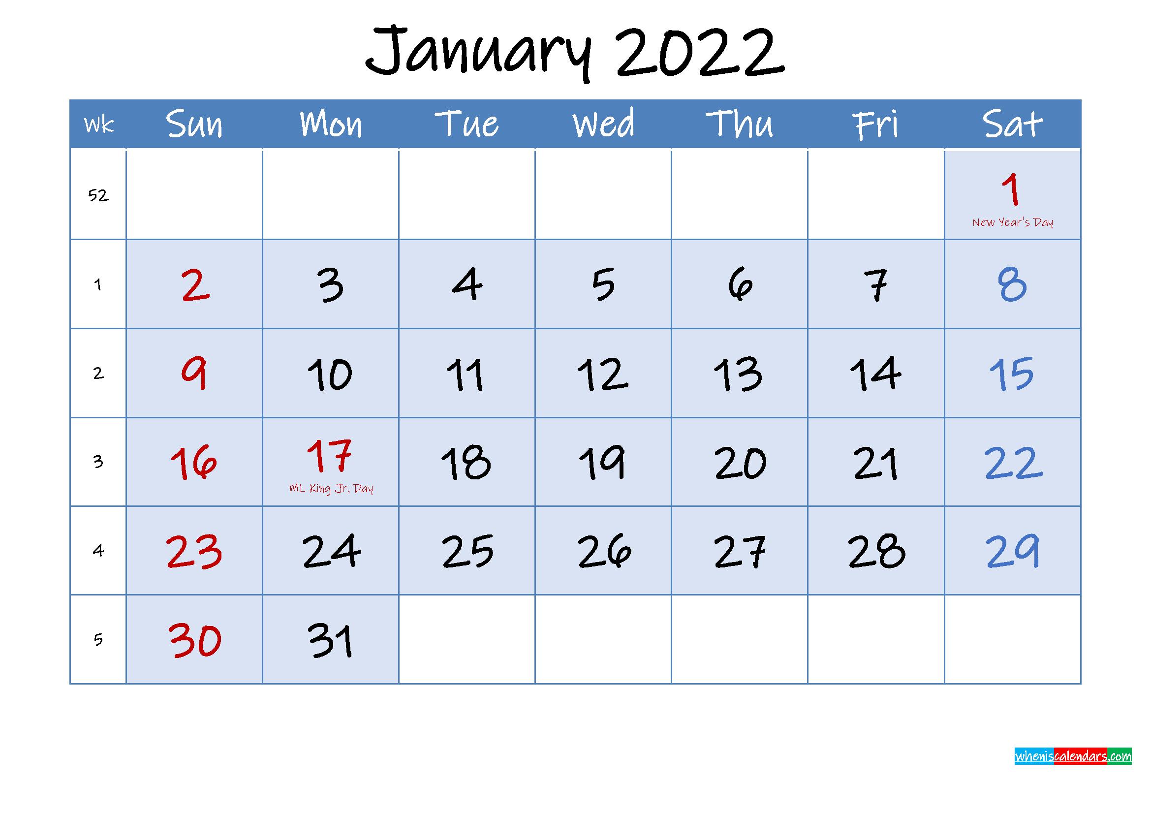 Free Printable January 2022 Calendar - Template Ink22M97 inside Printable Calendar January 2022 Floral Image