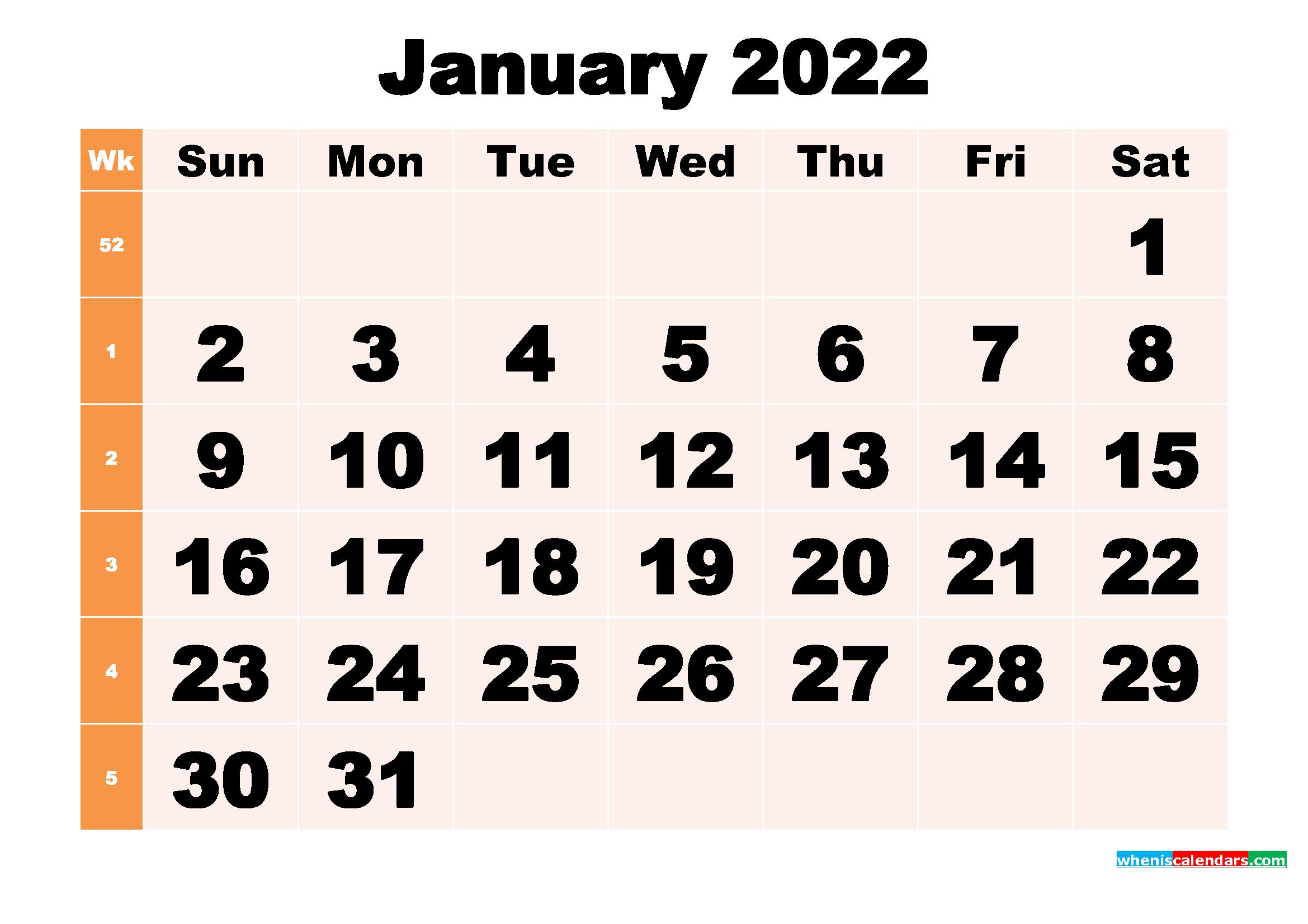 Free Printable January 2022 Calendar Template Word, Pdf with January 2022 Calendar Printable Free Graphics