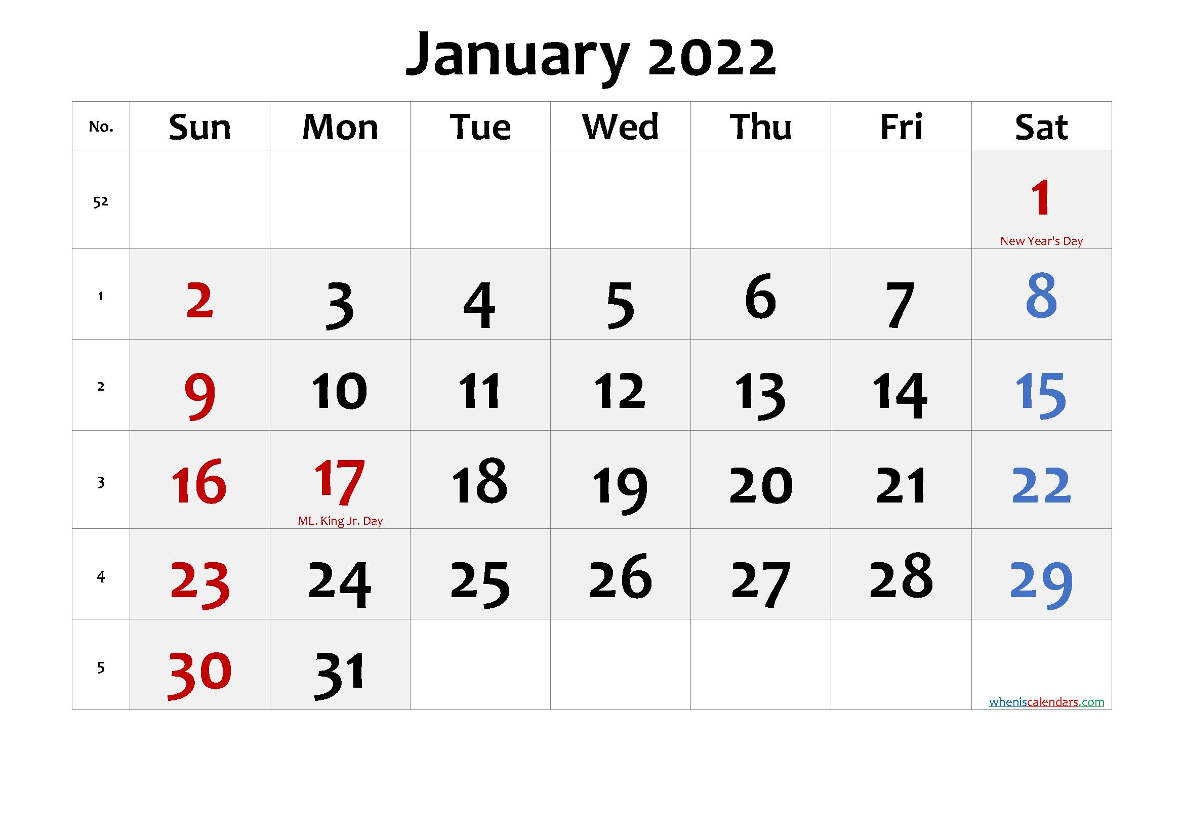 Free Printable January 2022 Calendar With Holidays - Free in Free Printable Printable Pdf January 2022 Calendar Photo