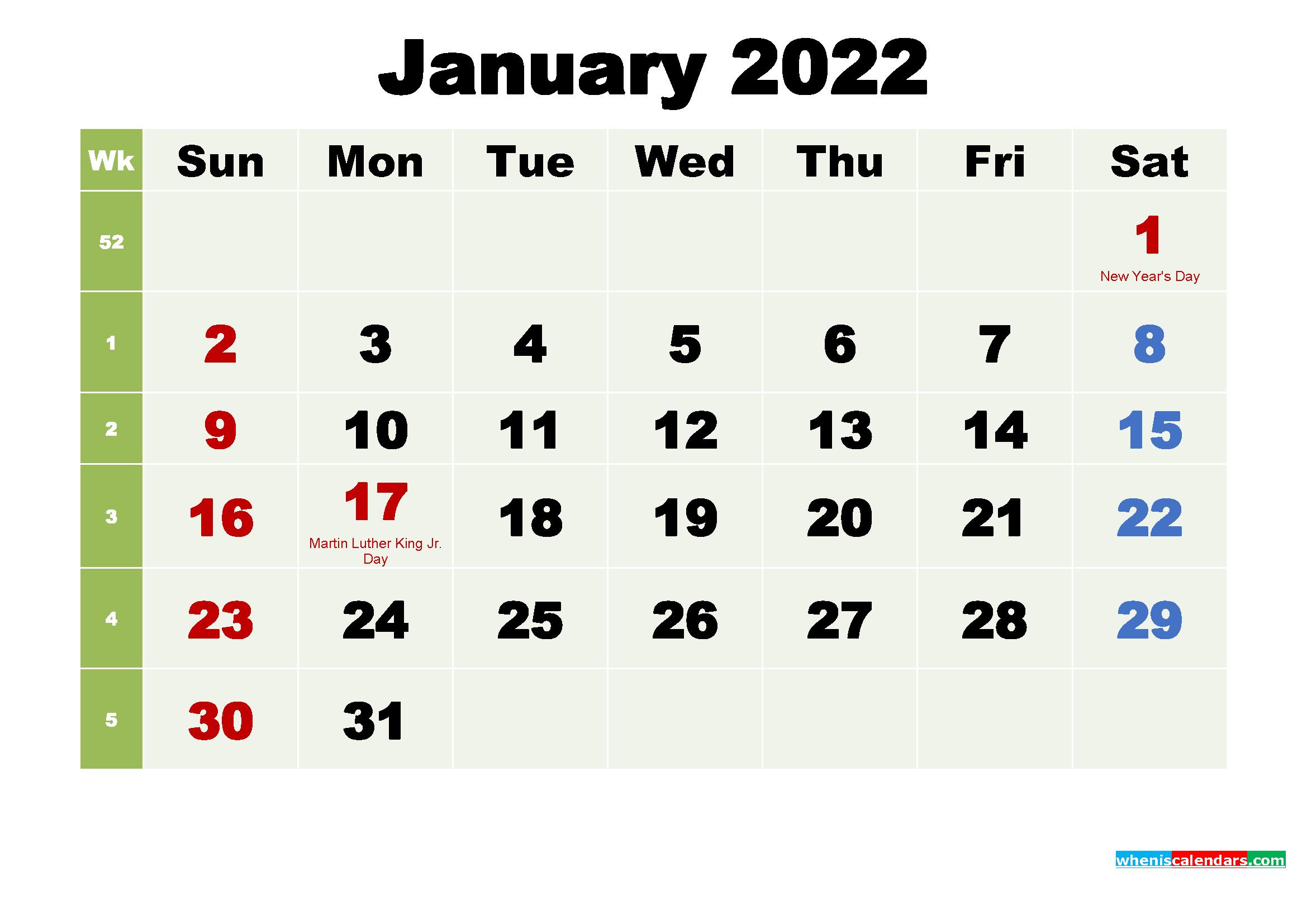 Free Printable January 2022 Calendar With Holidays - Free regarding January 2022 Calendar Printable Free Graphics