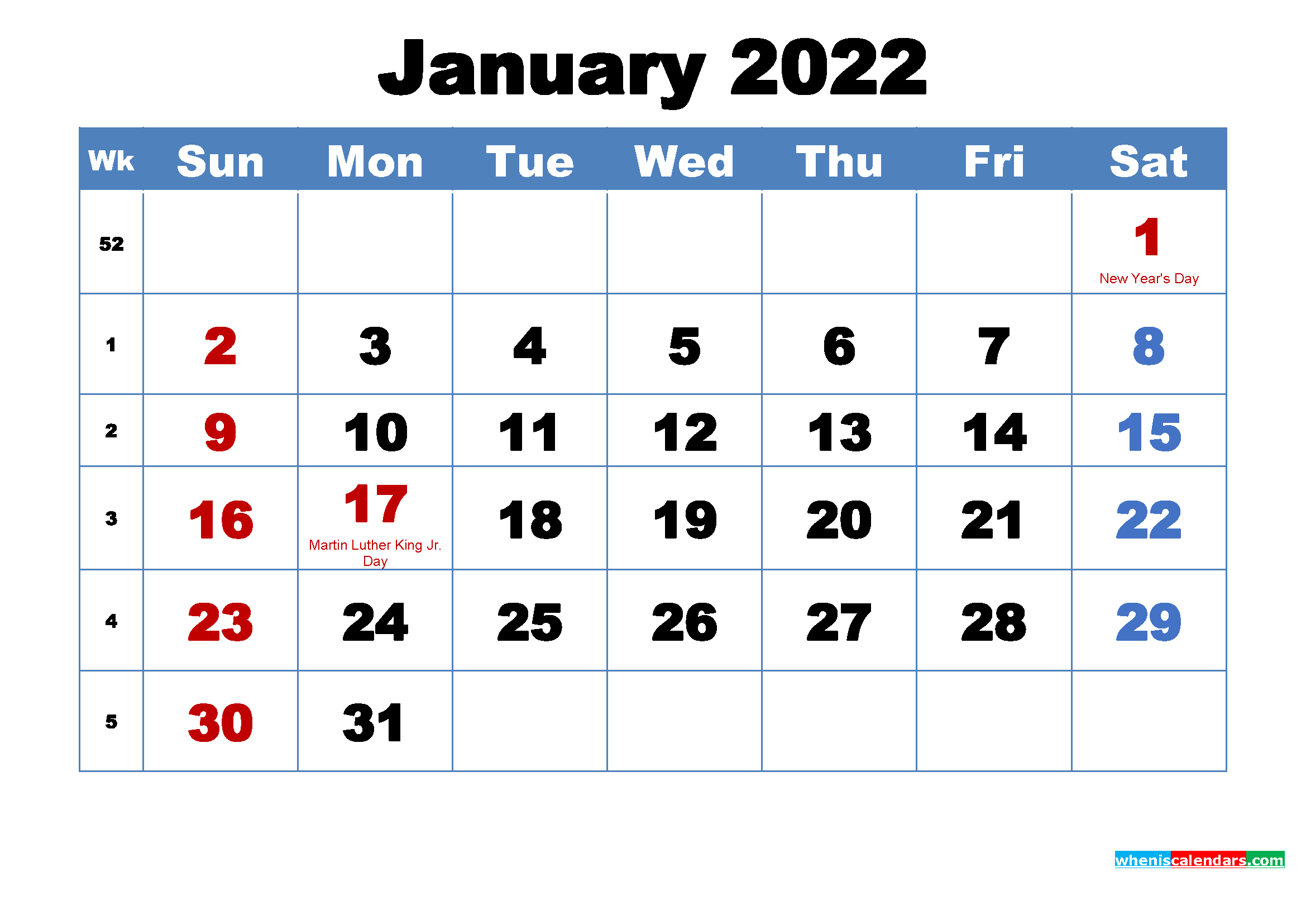 Free Printable January 2022 Calendar With Holidays regarding Free Monthly Planner 2022