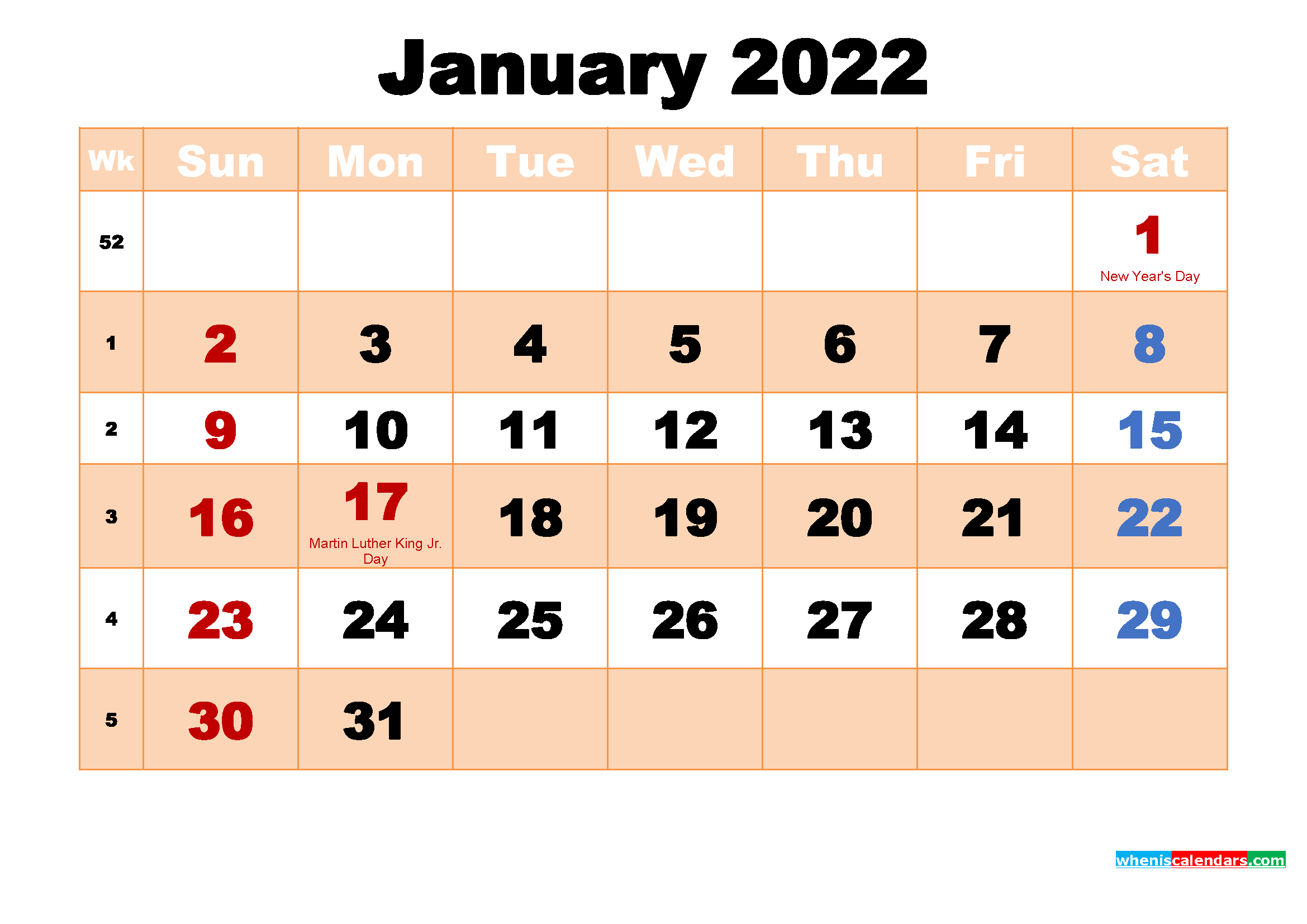 Free Printable January 2022 Calendar With Holidays within Free Printable January Calendar 2022 Photo