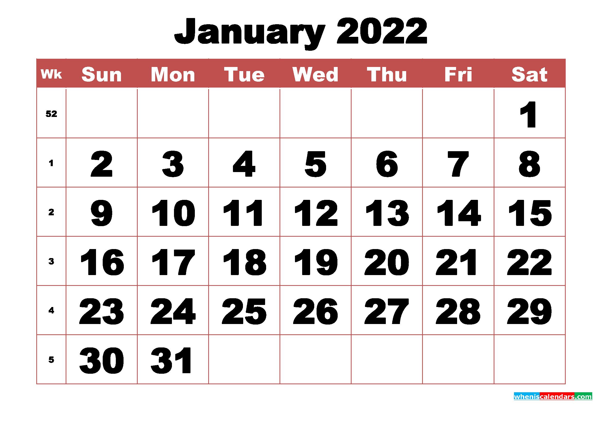 Free Printable January 2022 Calendar With Week Numbers throughout Printable Calendar January 2022 Floral Image