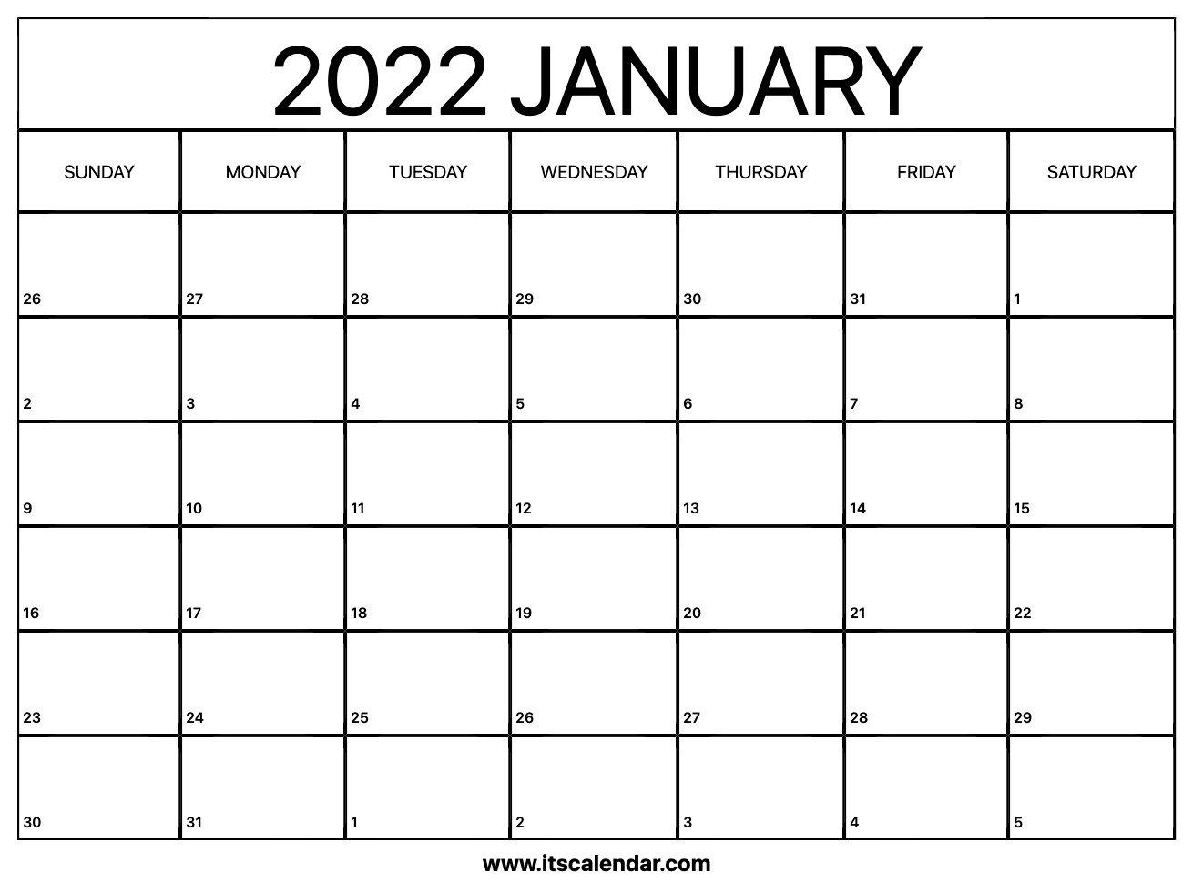 Free Printable January 2022 Calendar within Planner 2022 Printable Goal