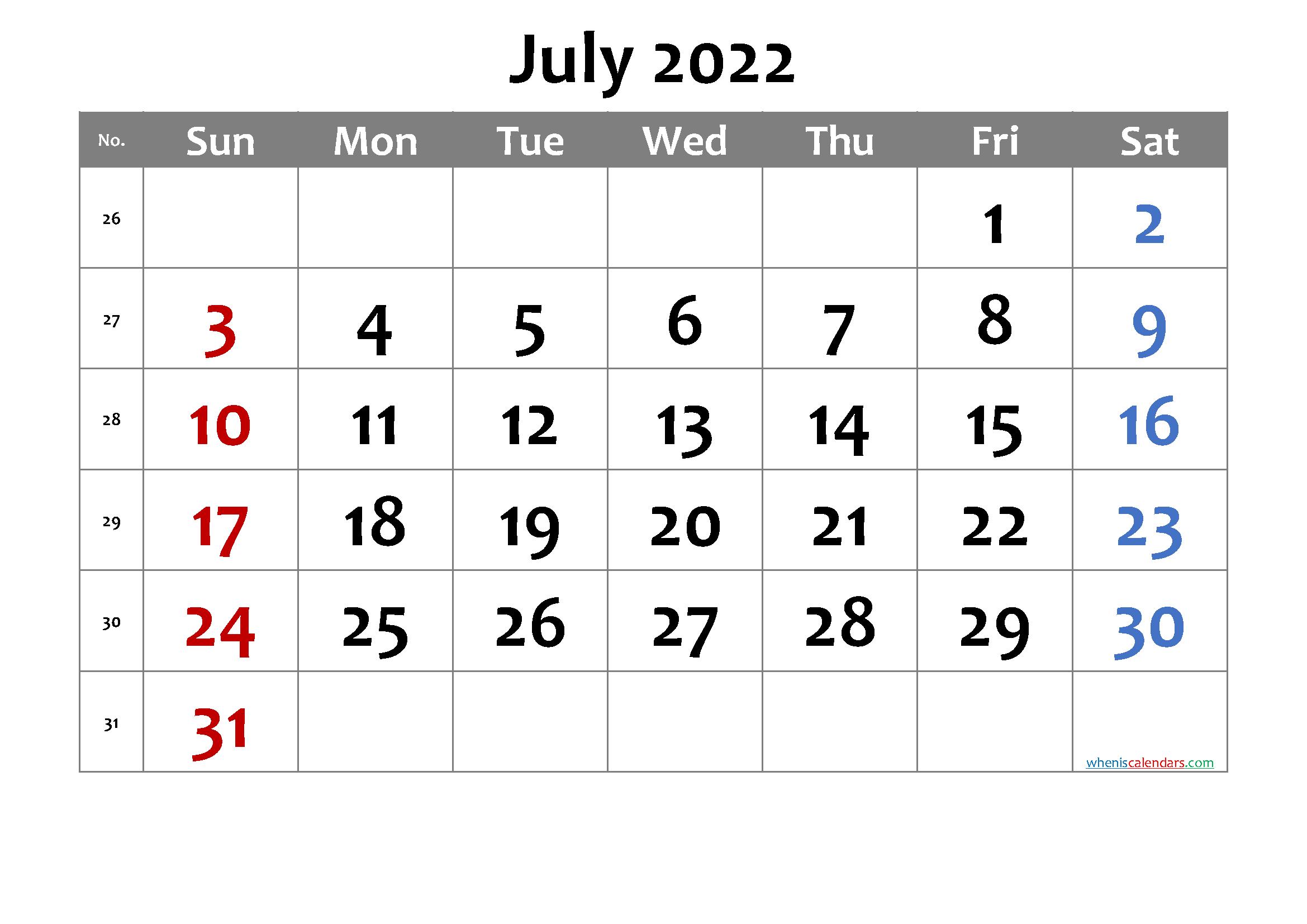 Free Printable July 2022 Calendar With Week Numbers in July 2022 Calendar Printable Graphics