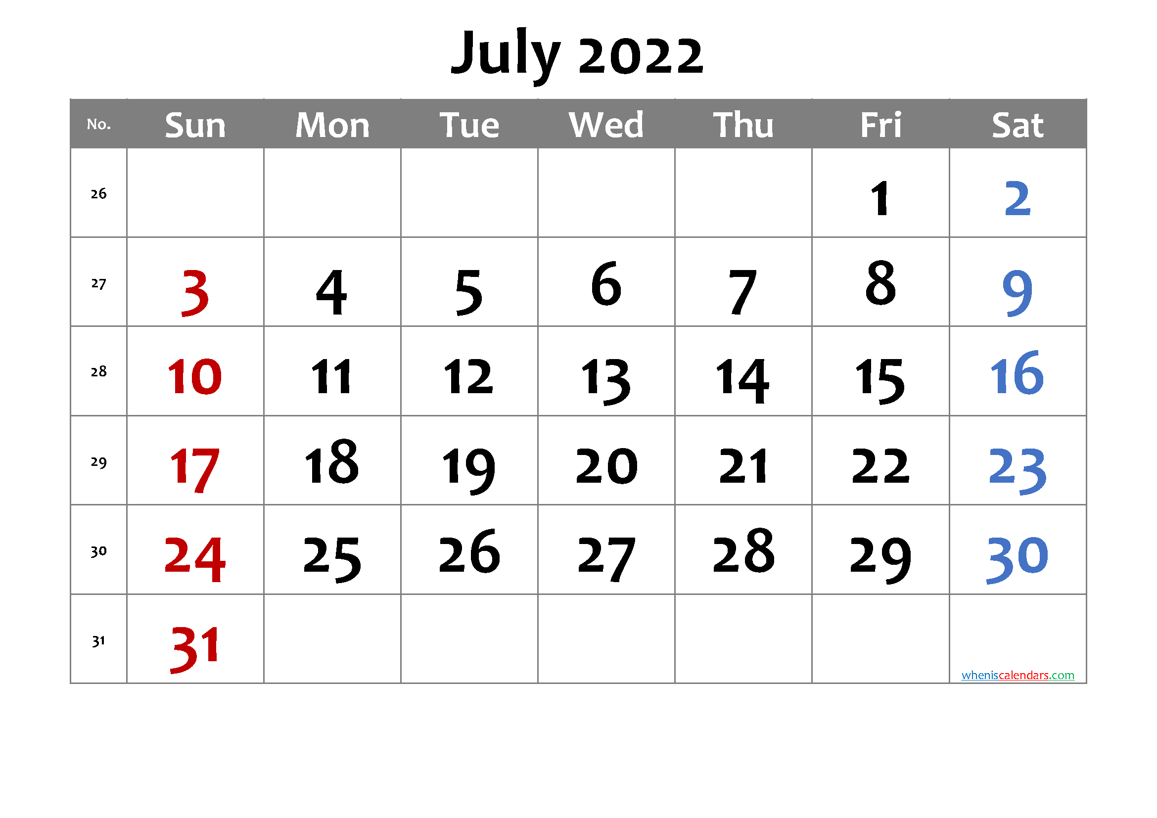 Free Printable July 2022 Calendar With Week Numbers with Print July 2022 Calendar Graphics