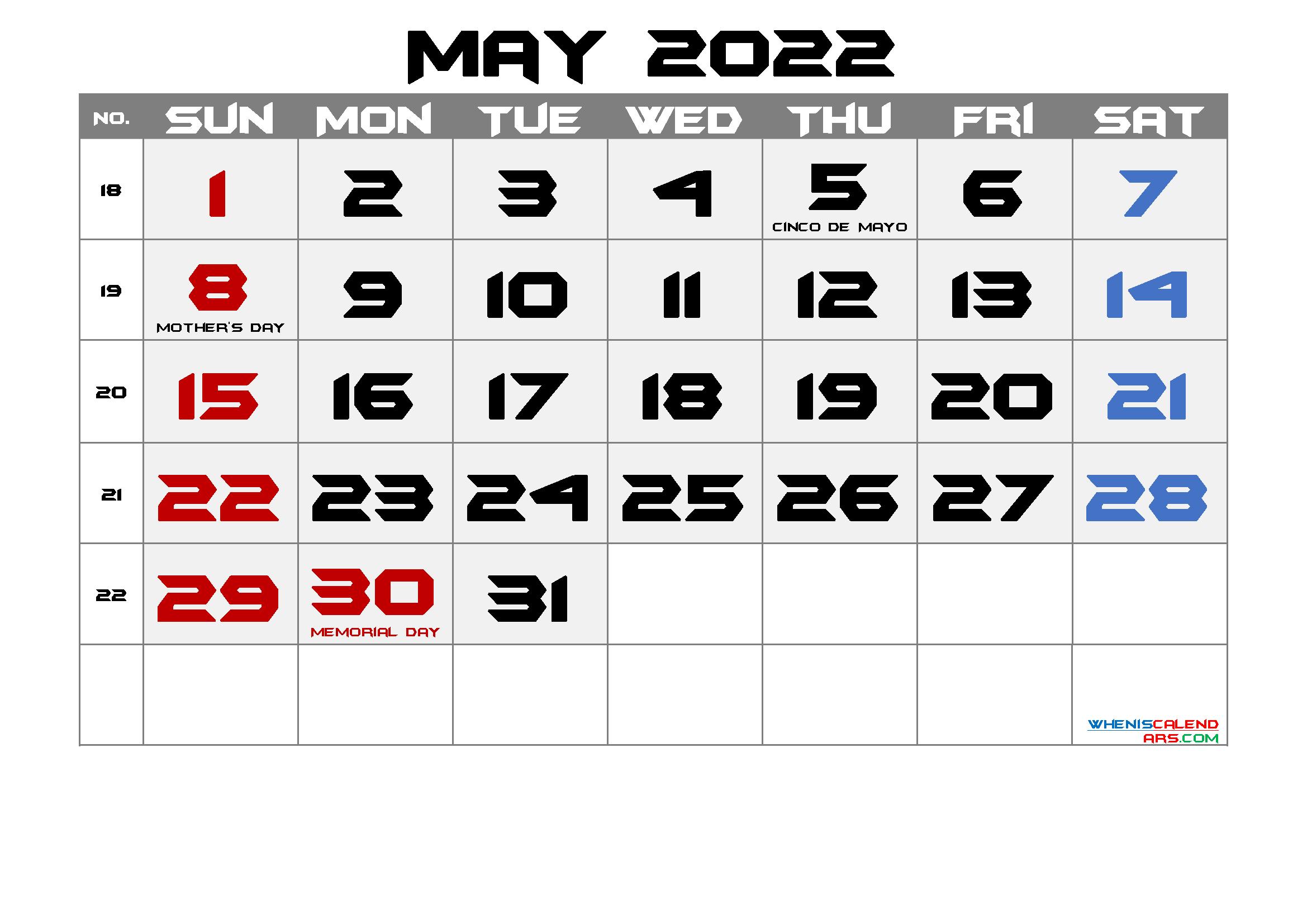 Free Printable May 2022 Calendar intended for May 2022 Calendar Printable