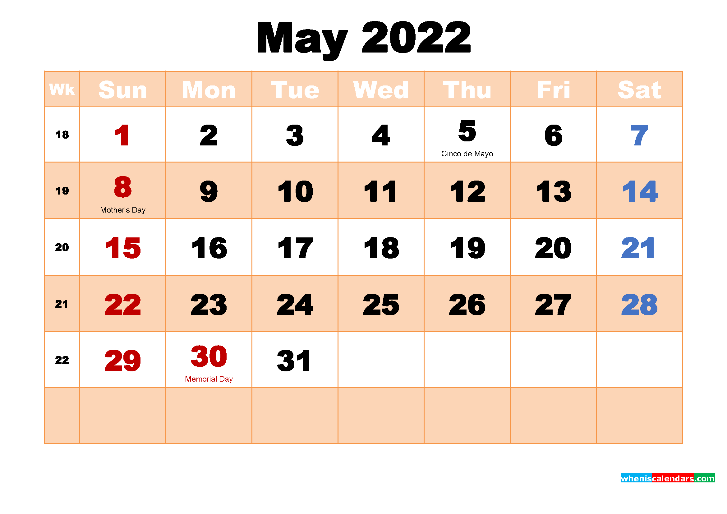Free Printable May 2022 Calendar With Holidays inside May 2022 Calendar Printable