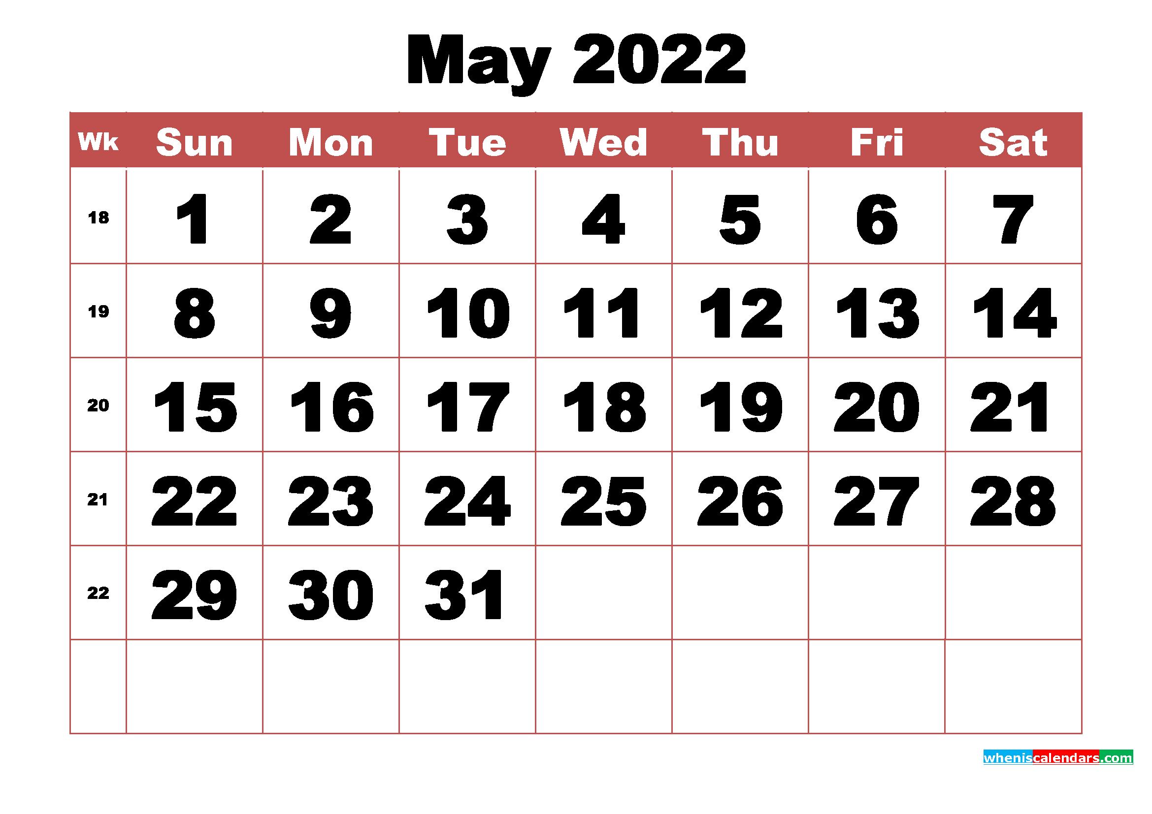 Free Printable May 2022 Calendar With Week Numbers - Free within Free Printable 2022 Planner With Holidays