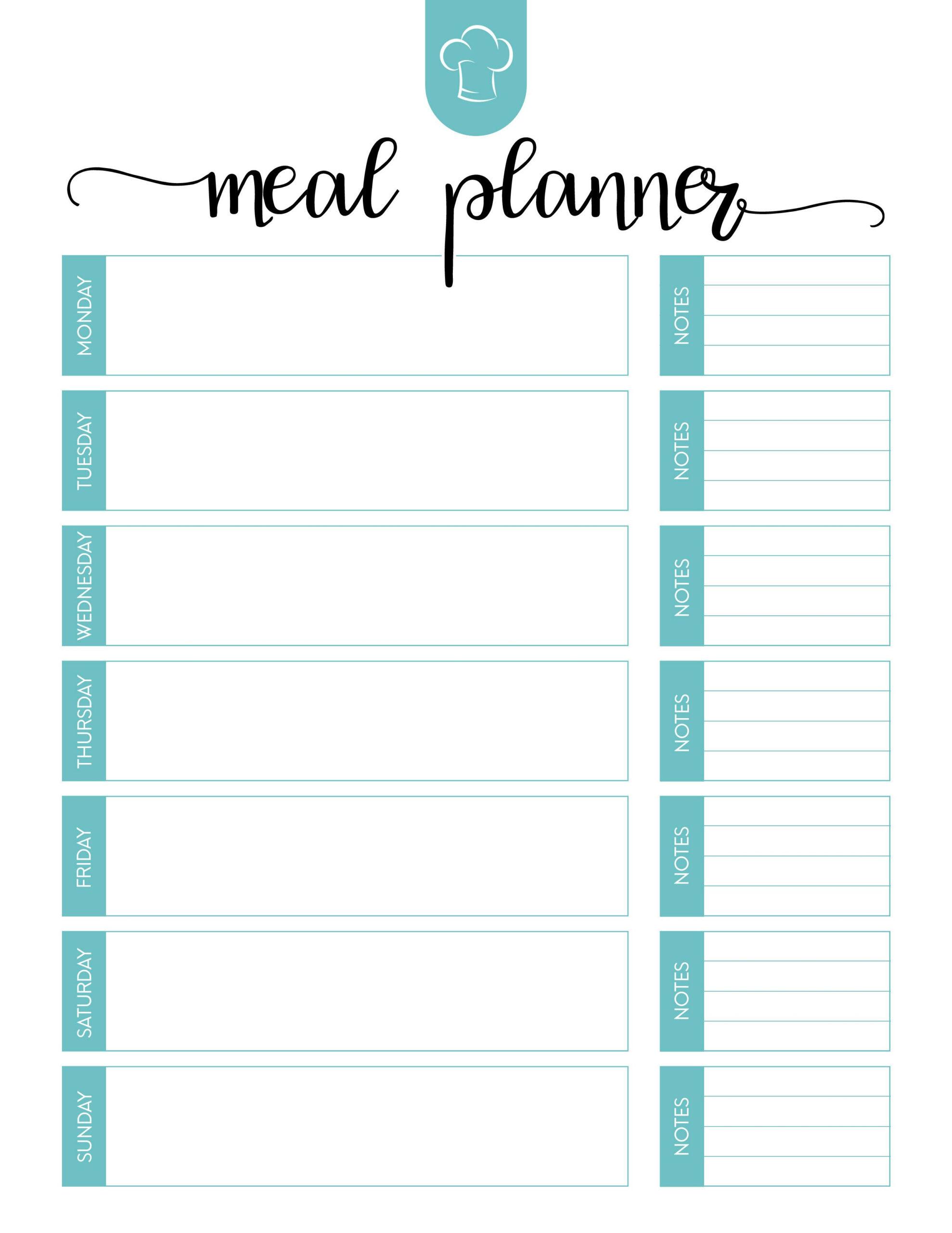 Free Printable Meal Planner | Room Surf for Free Weekly Planner Printables